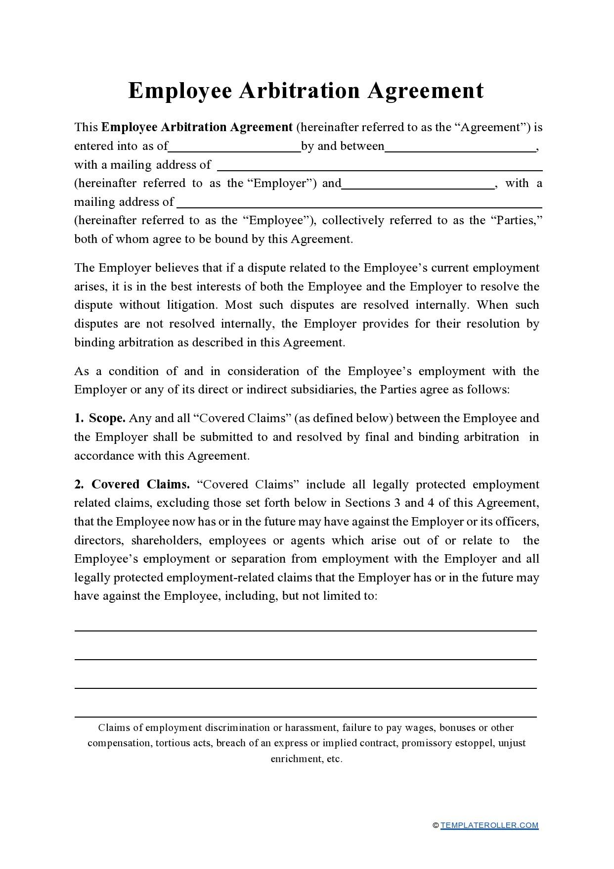 Free arbitration agreement 22