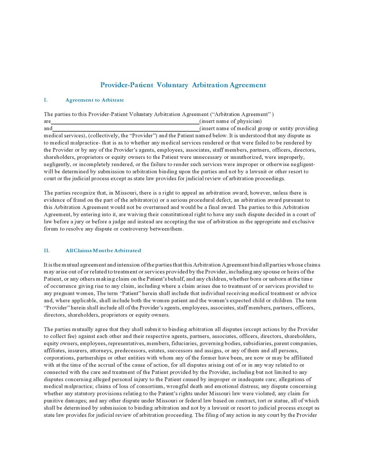 Free arbitration agreement 29