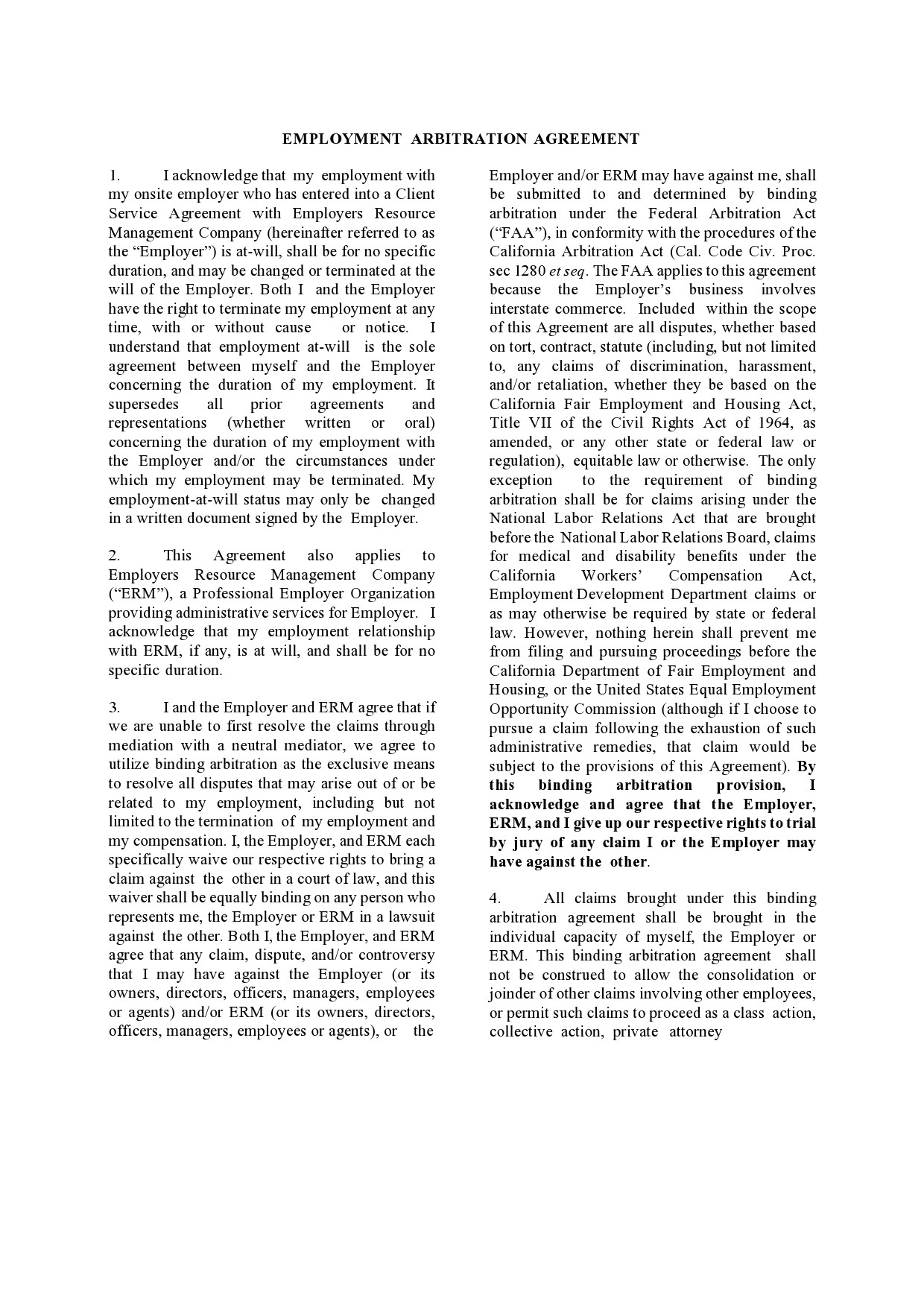Free arbitration agreement 31