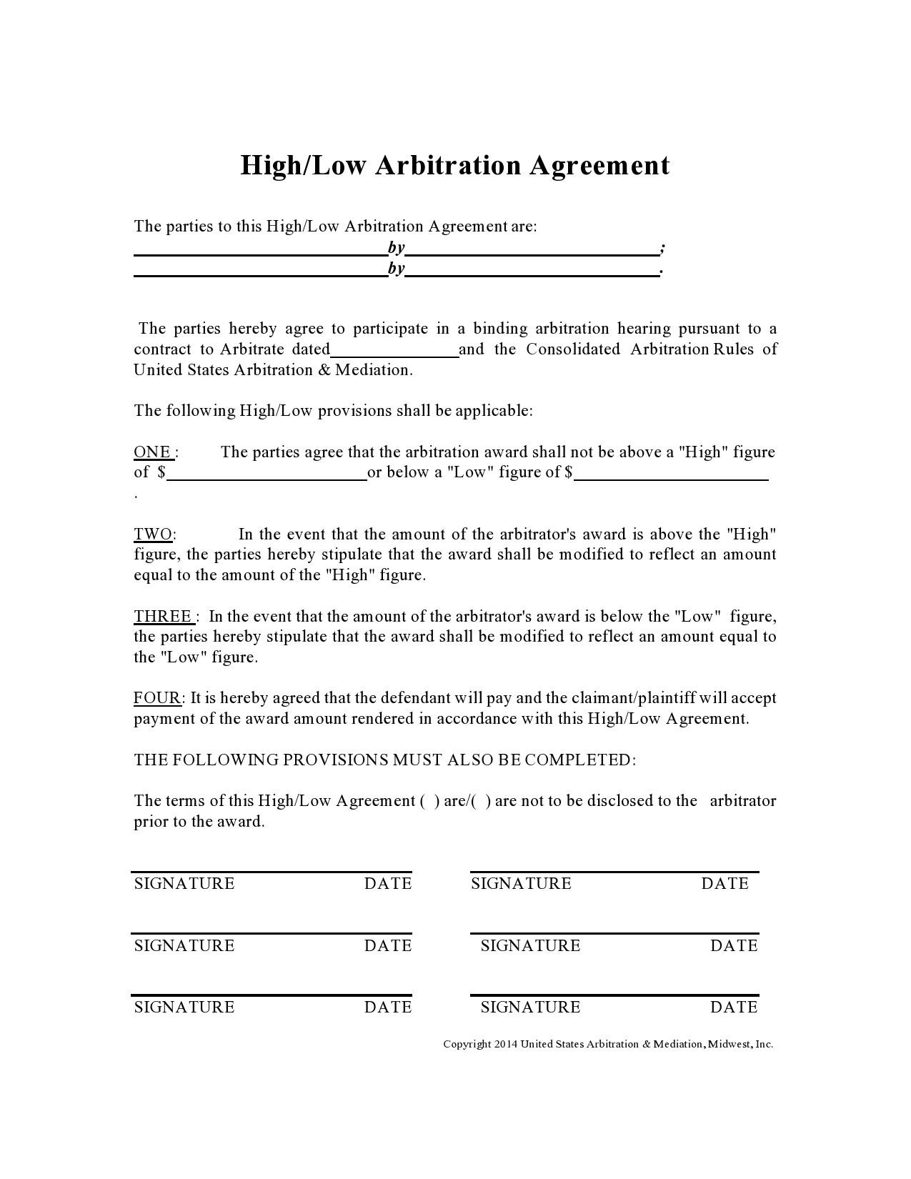Free arbitration agreement 32