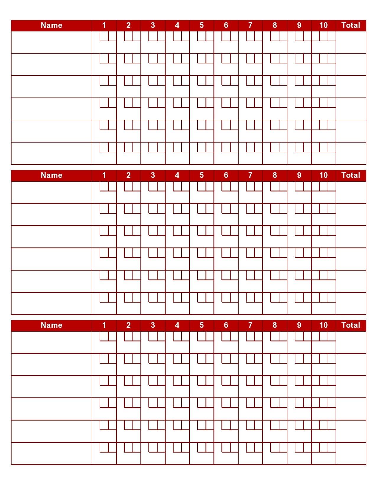 Free bowling score sheet 14
