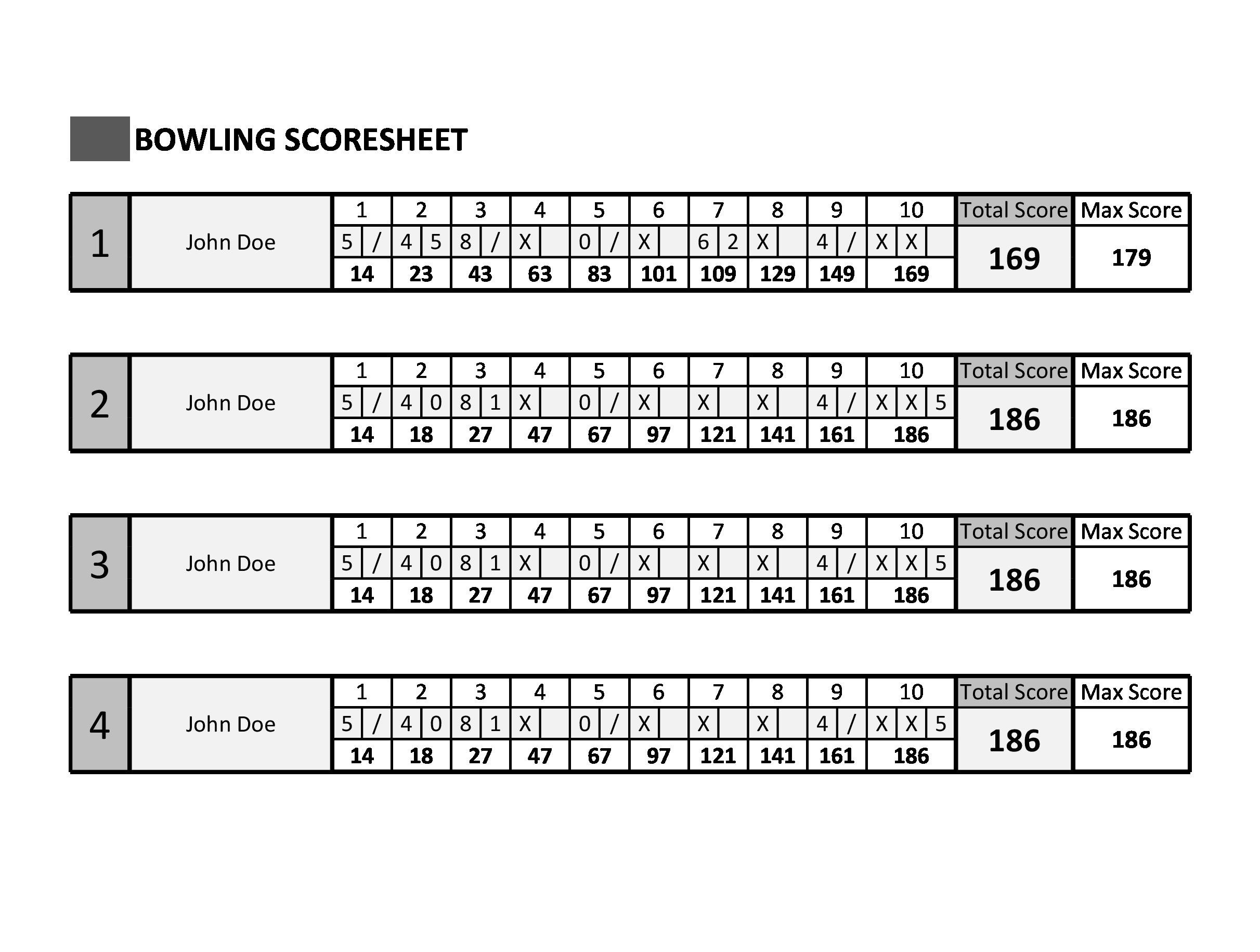 Free bowling score sheet 26