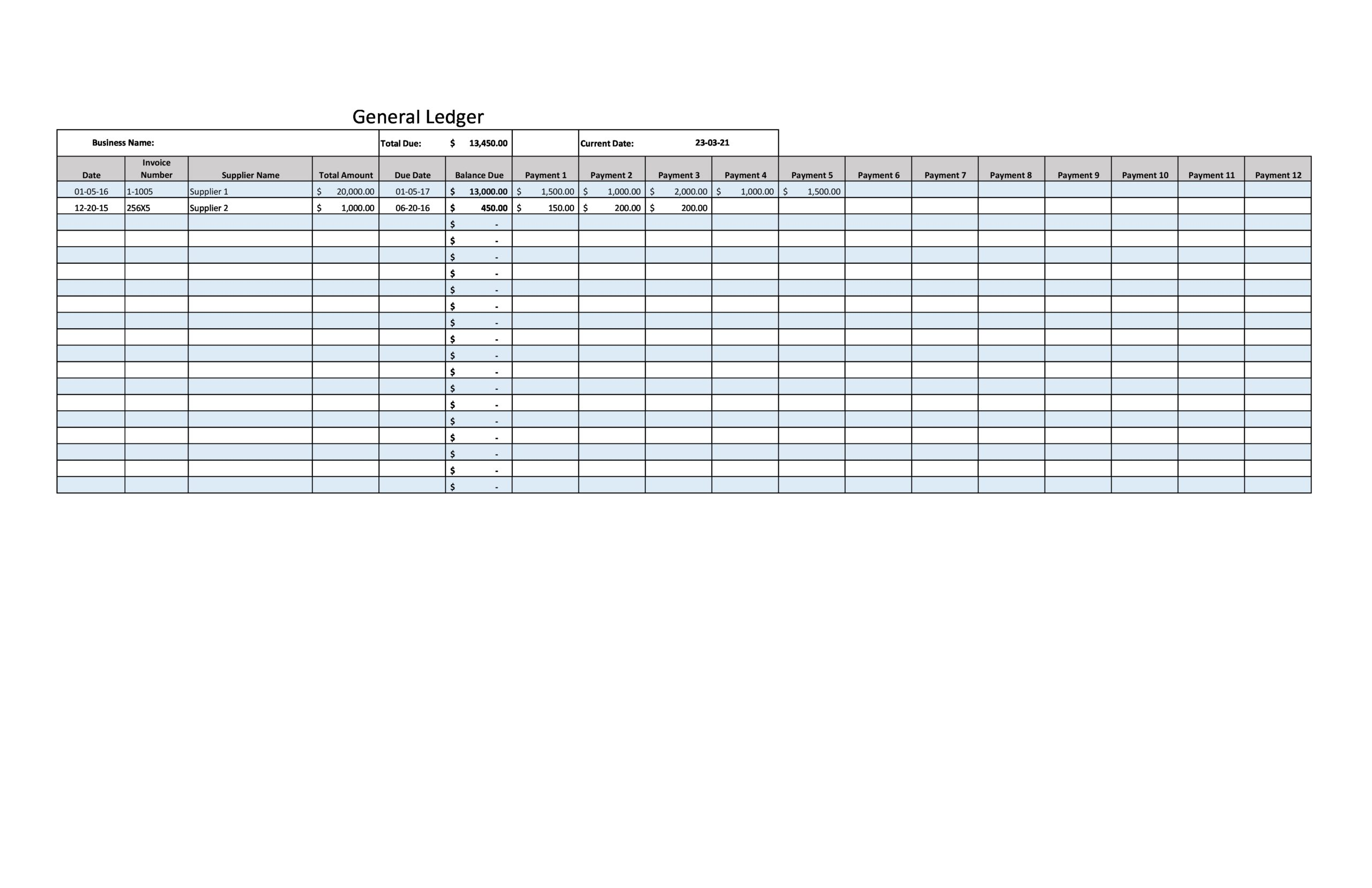 Free general ledger template 10