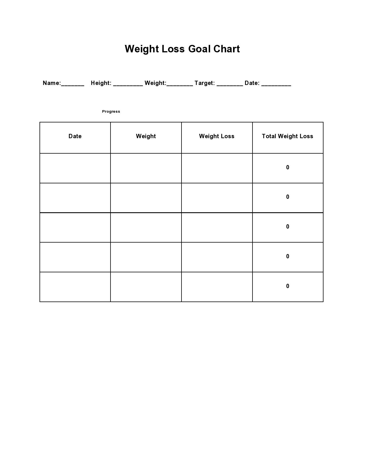 Free goal chart template 01