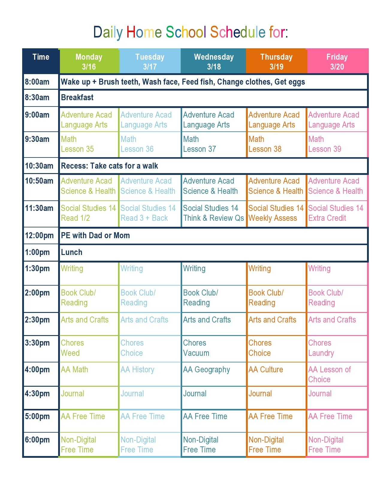 Free homeschool schedule template 02