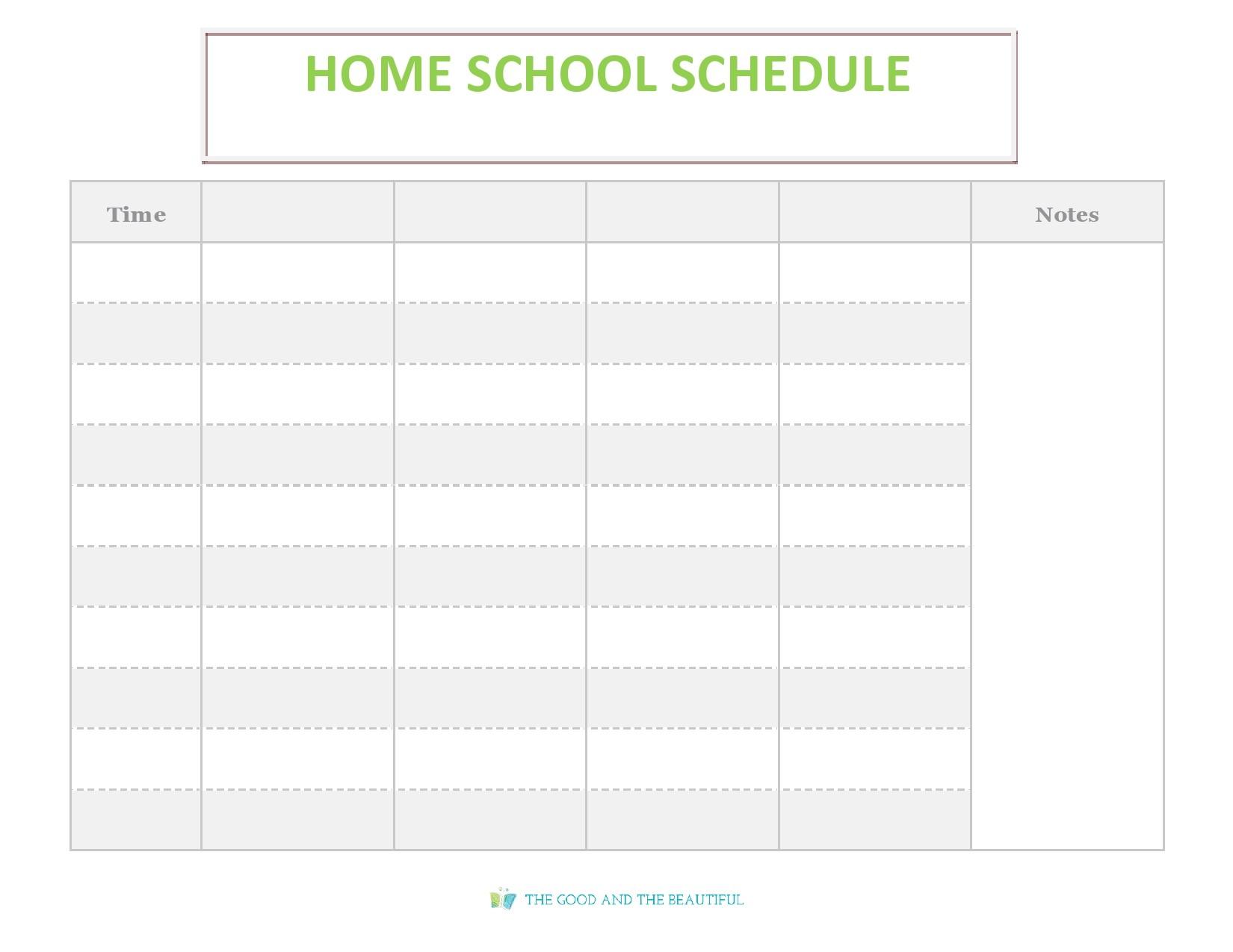 Free homeschool schedule template 03