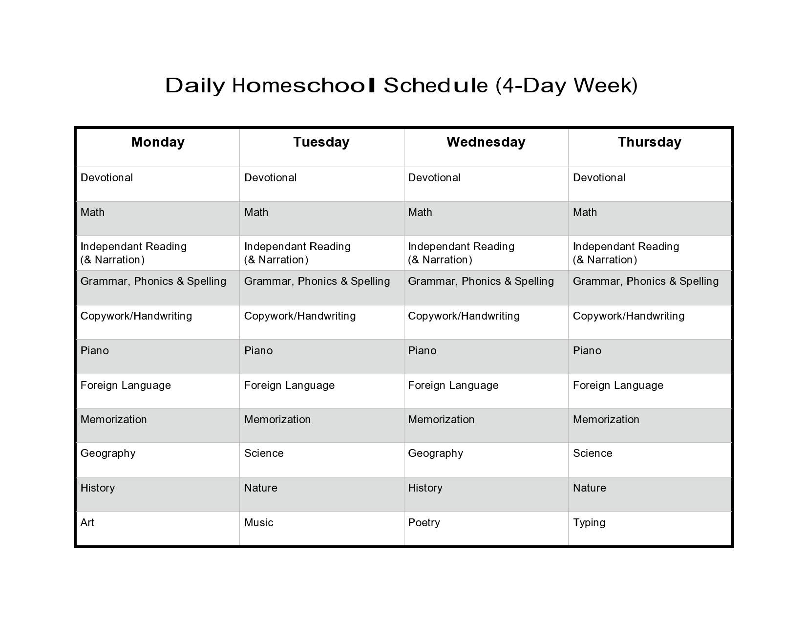 Free homeschool schedule template 05
