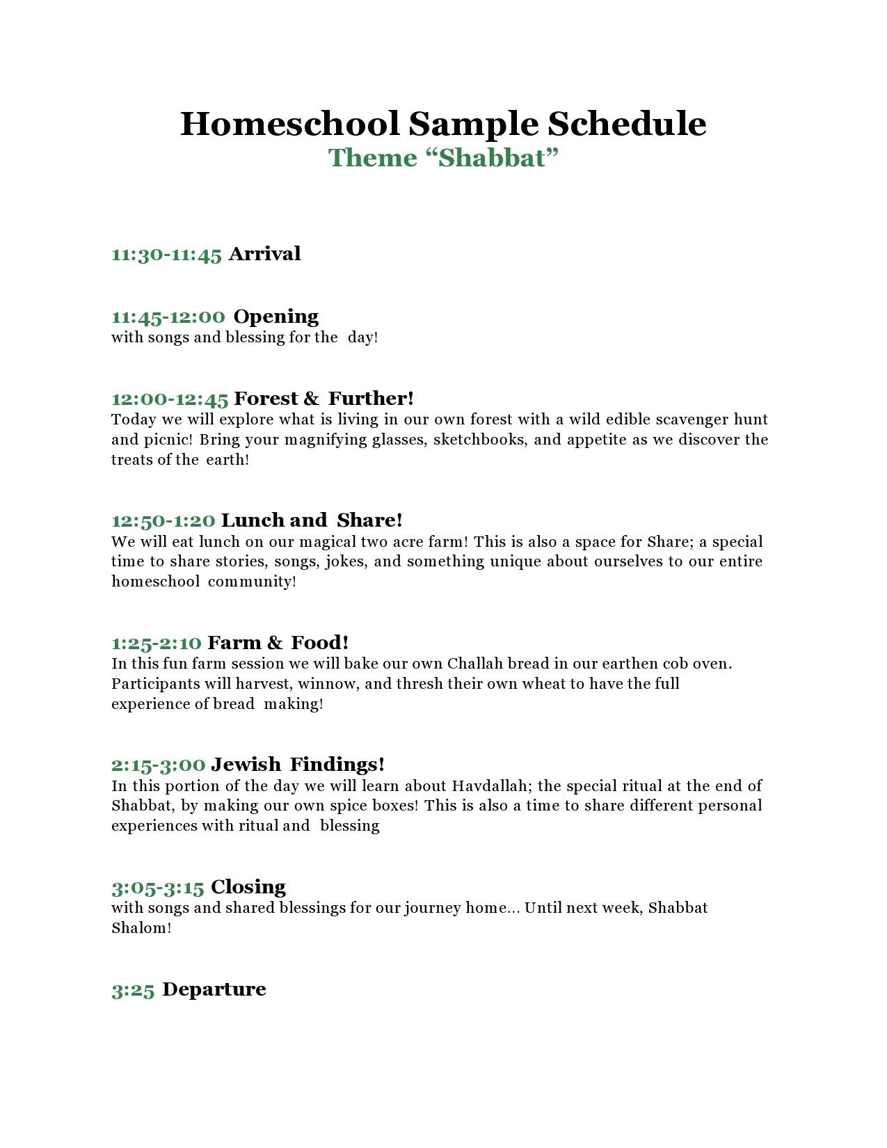 Free homeschool schedule template 07