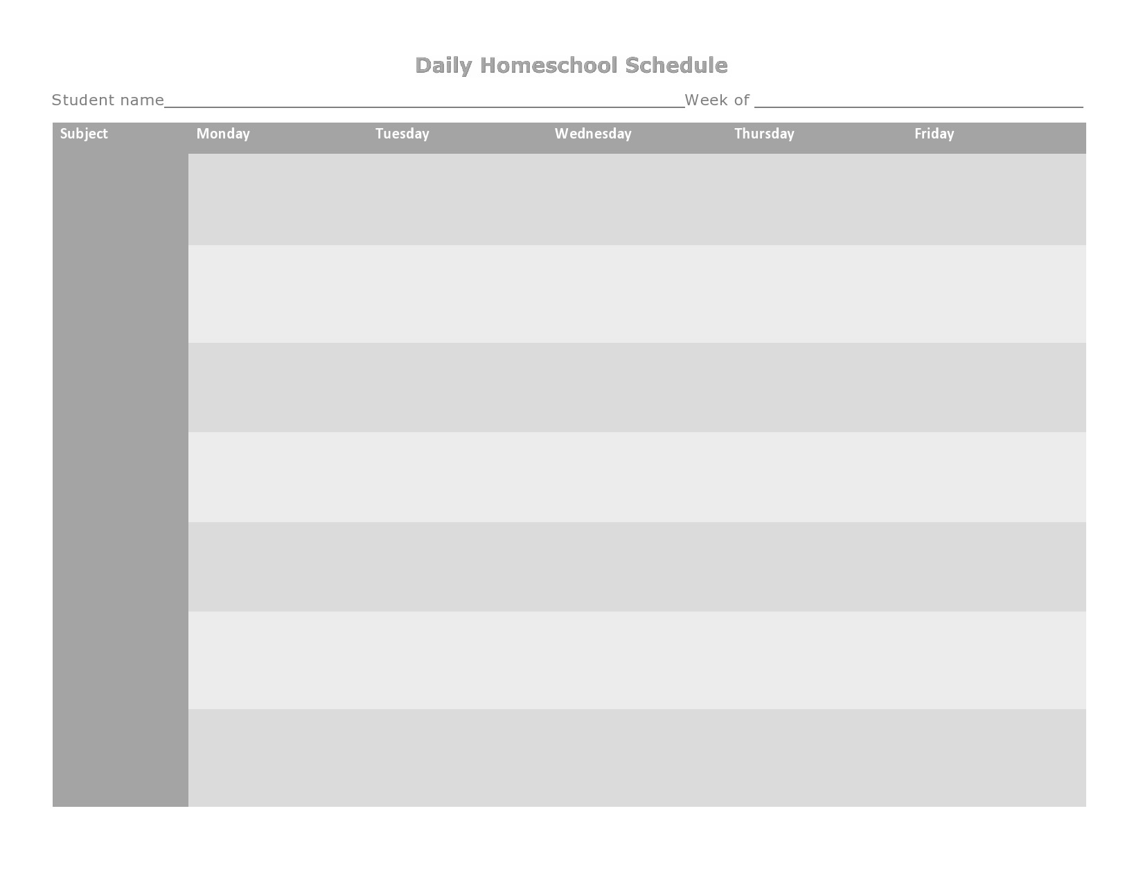 Free homeschool schedule template 08