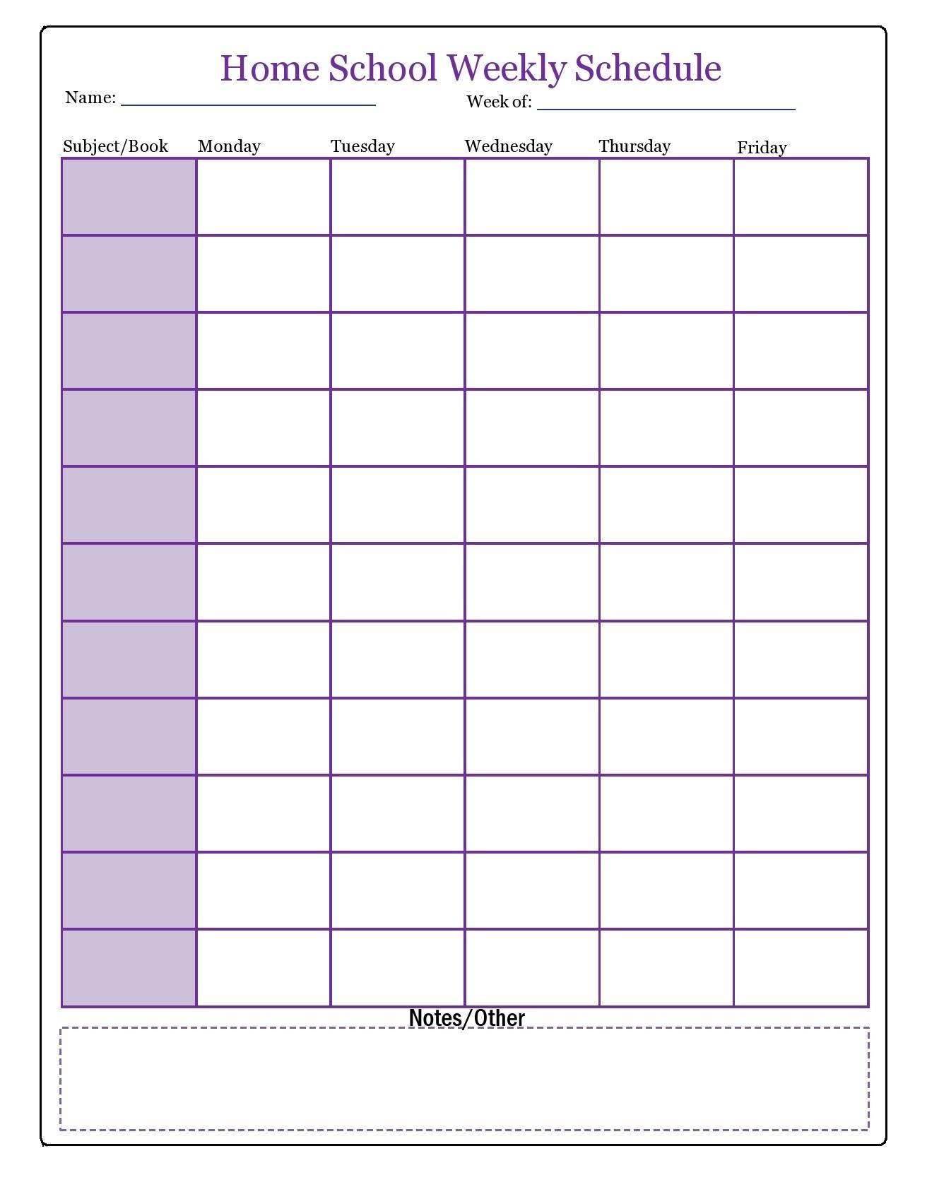 Free homeschool schedule template 10