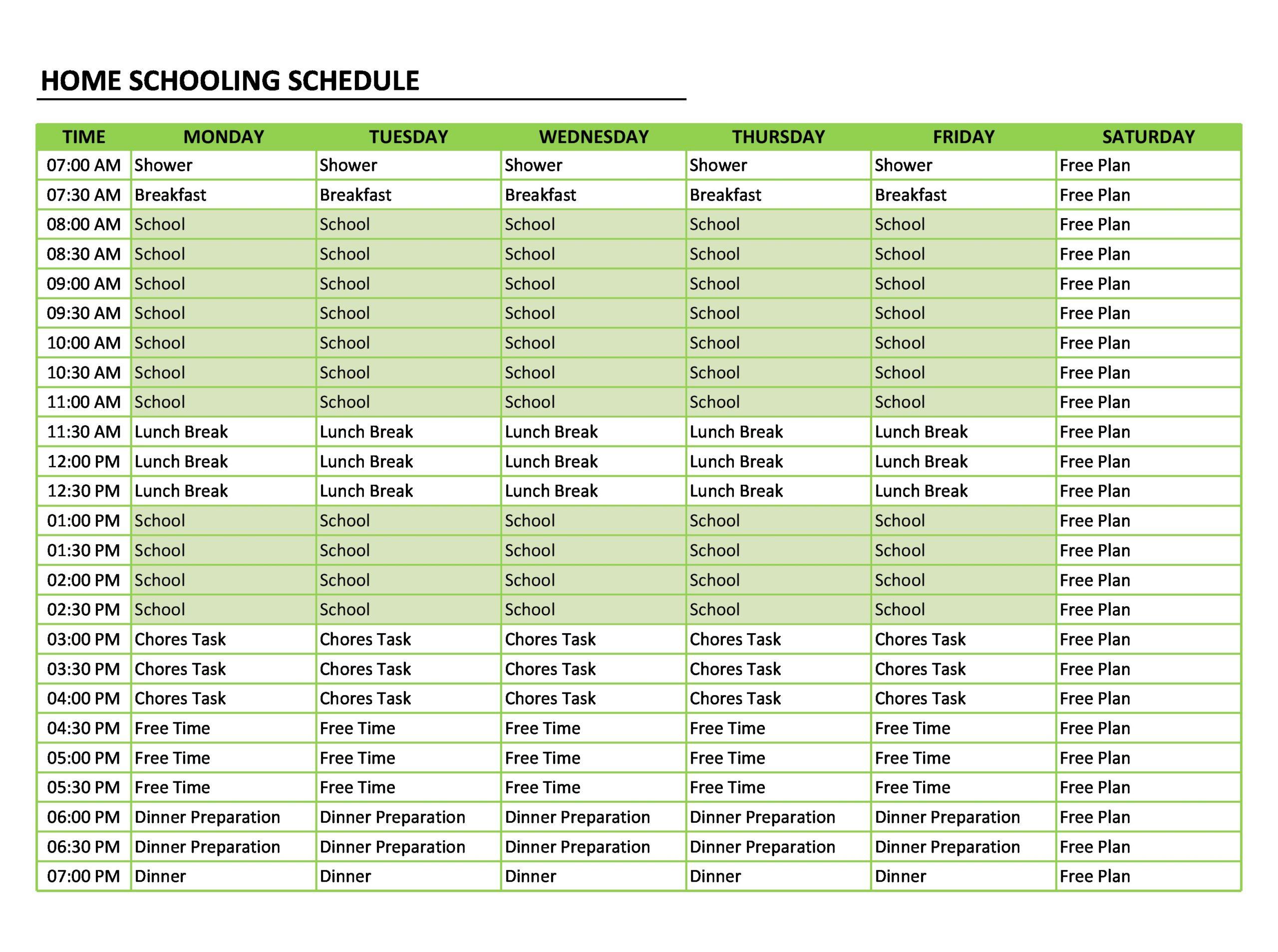 Free homeschool schedule template 12