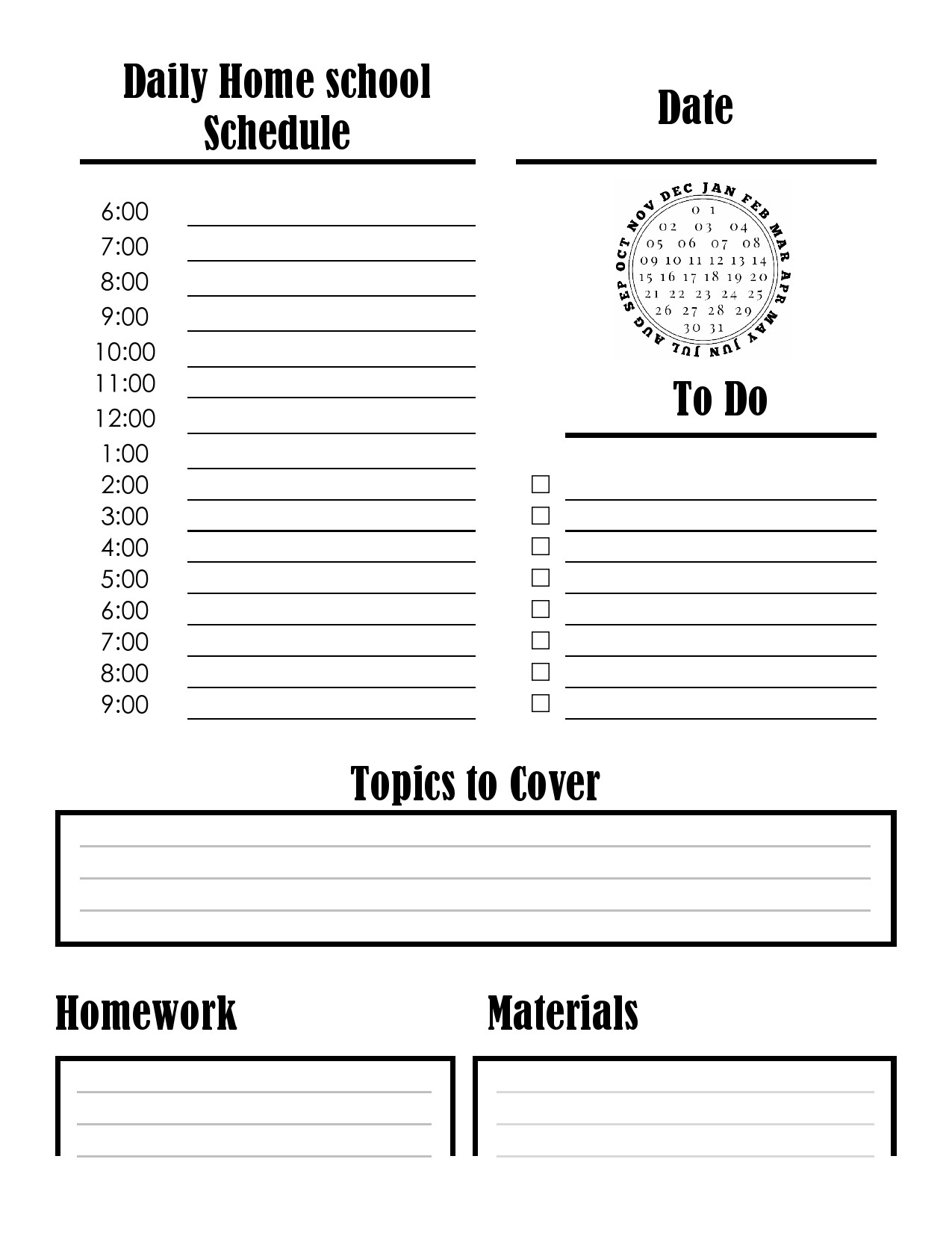 Free homeschool schedule template 15