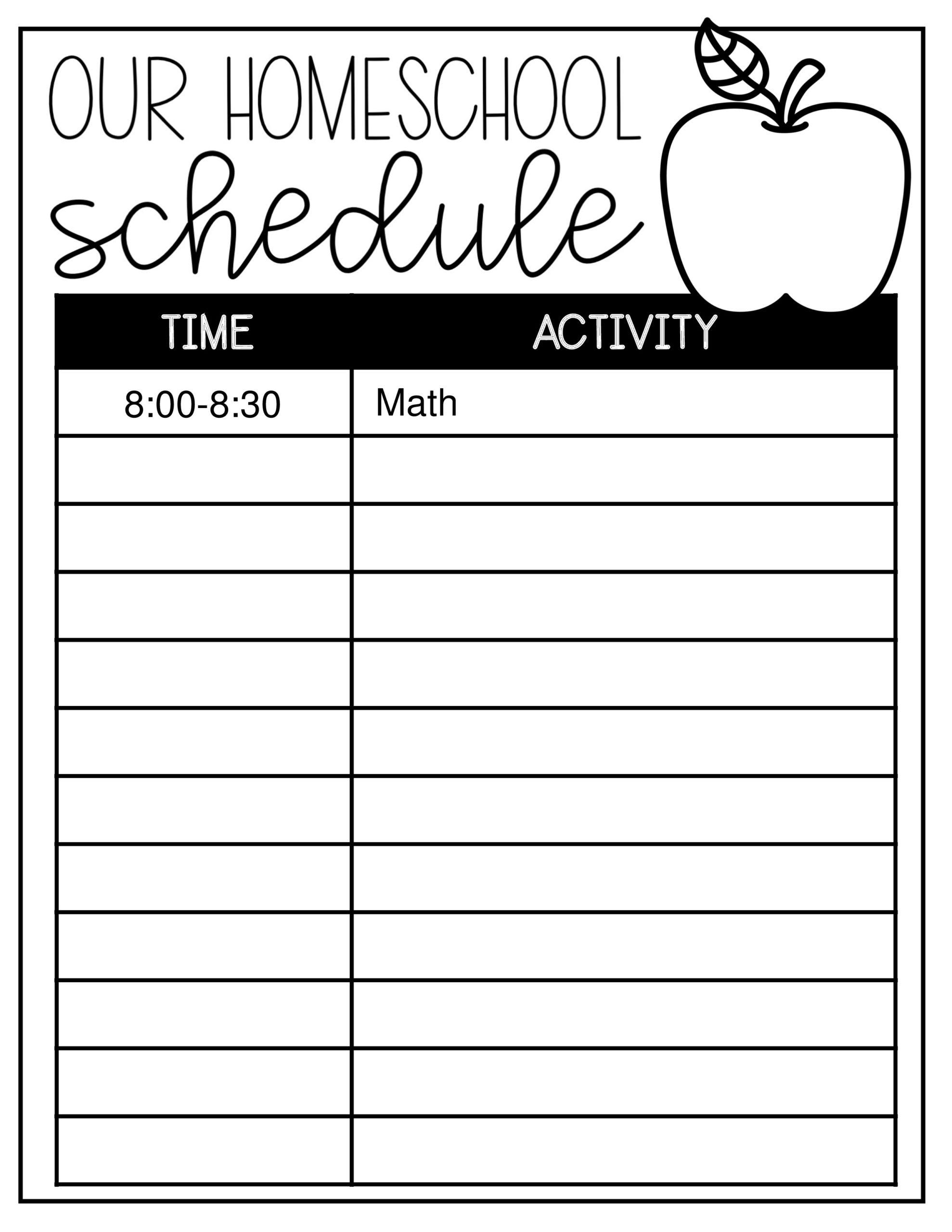 Free homeschool schedule template 18