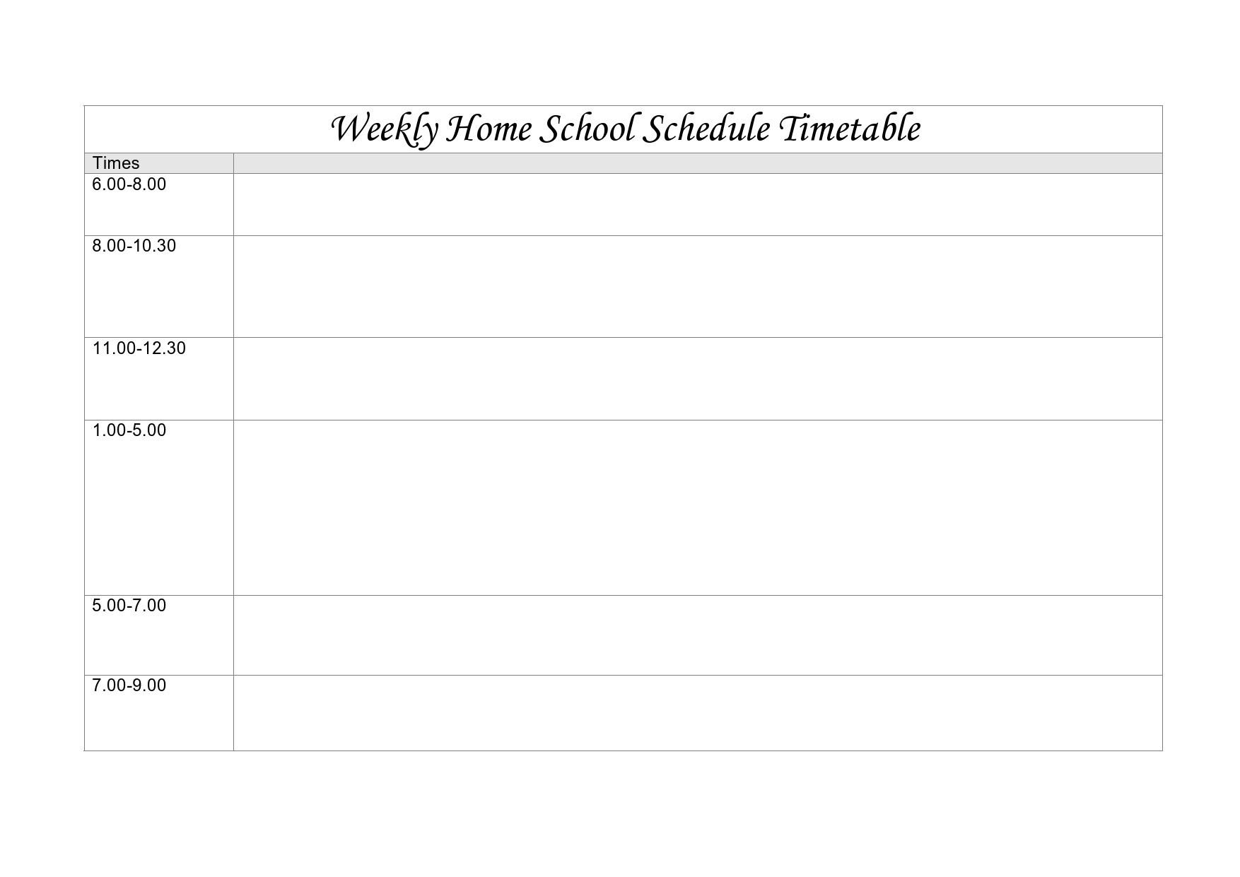 Free homeschool schedule template 20