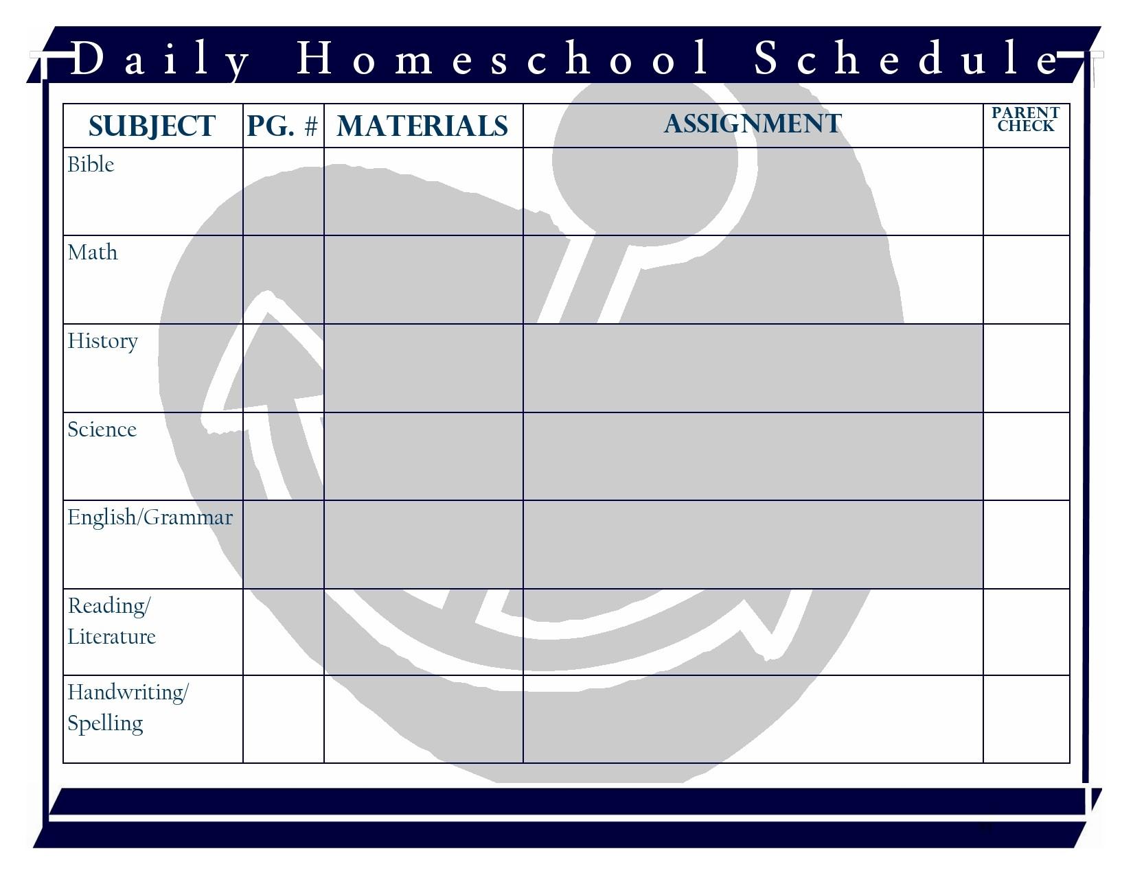 Free homeschool schedule template 21