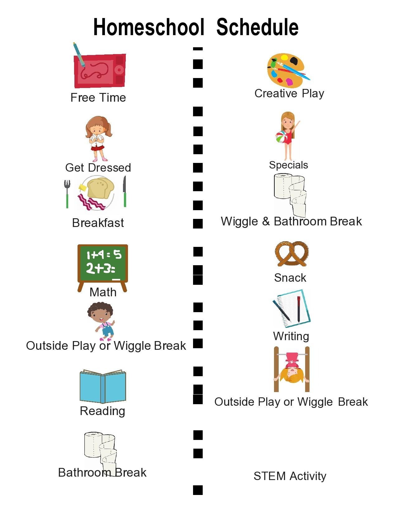 Free homeschool schedule template 22