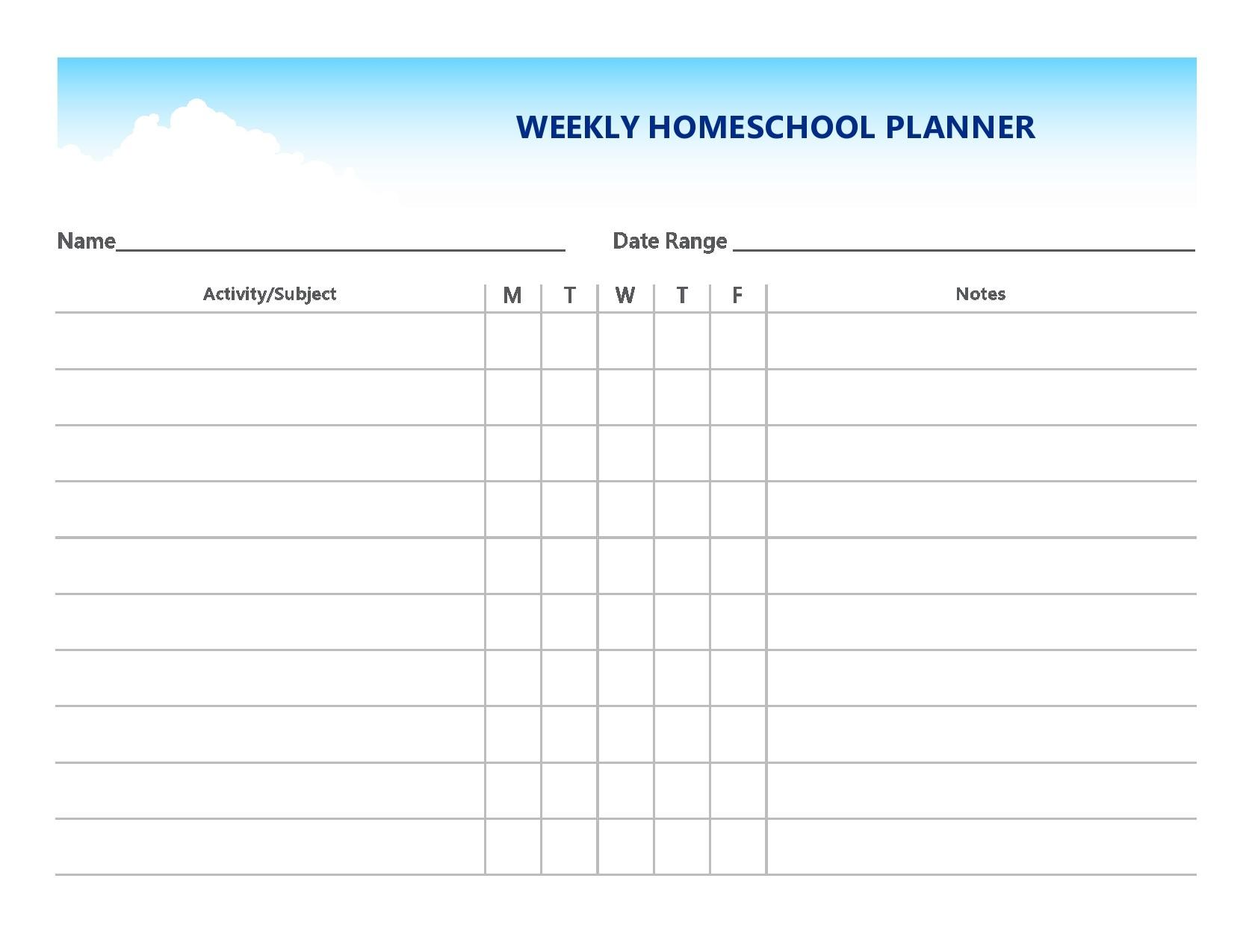 Free homeschool schedule template 23