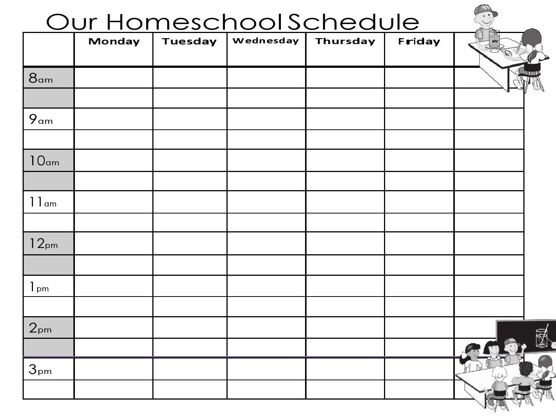 Free homeschool schedule template 24