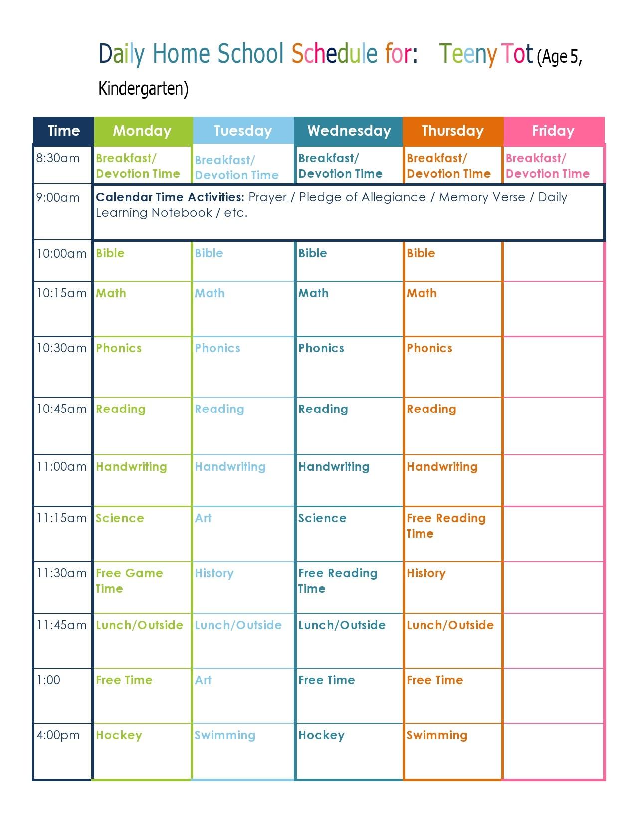 Free homeschool schedule template 25