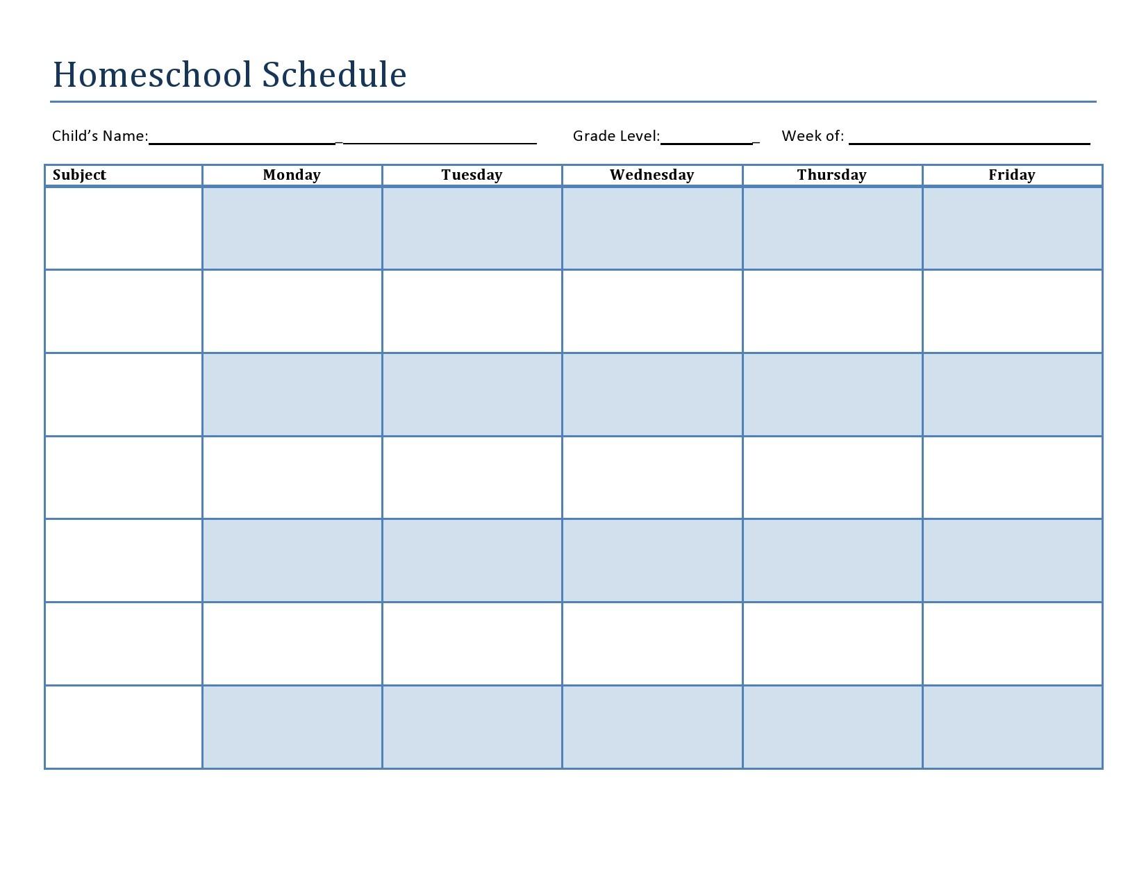 Free homeschool schedule template 26