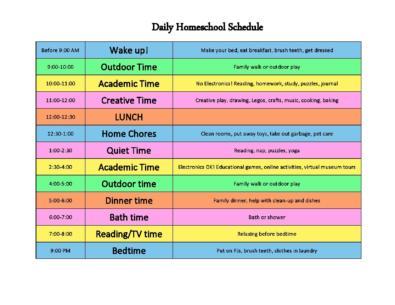 Homeschool Schedule Templates