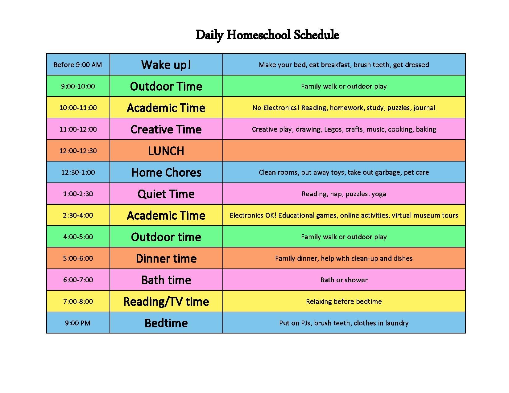 Free homeschool schedule template 28