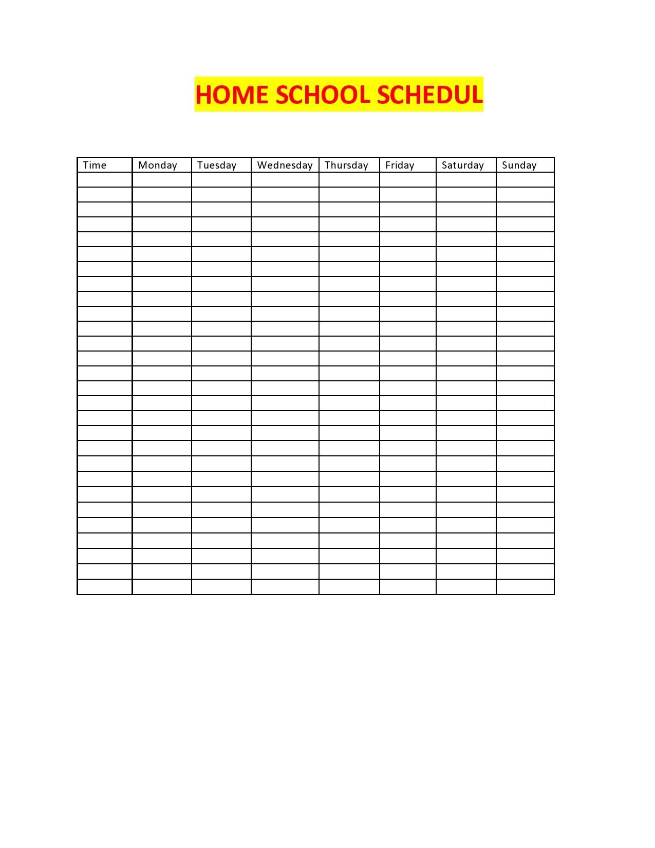 Free homeschool schedule template 29
