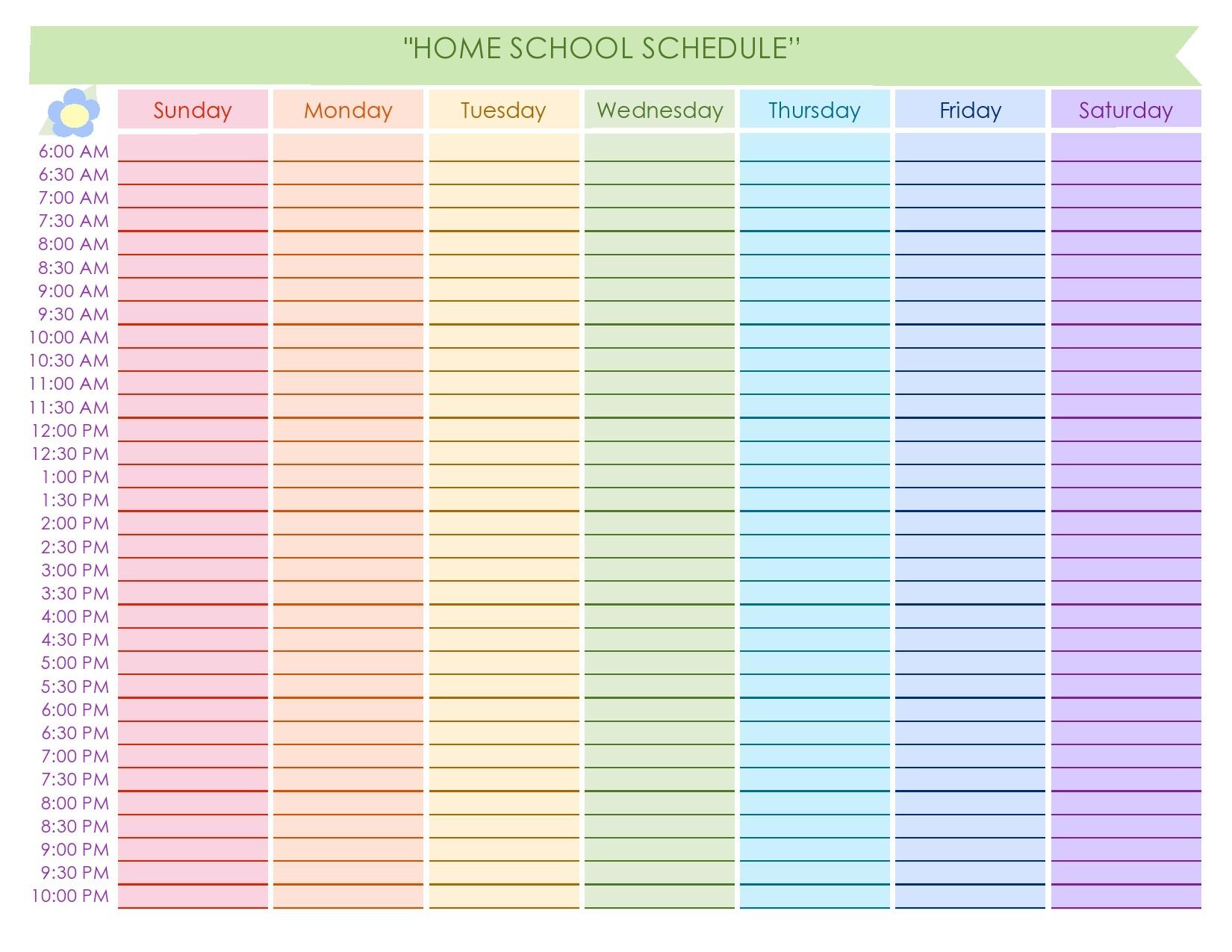 Free homeschool schedule template 30