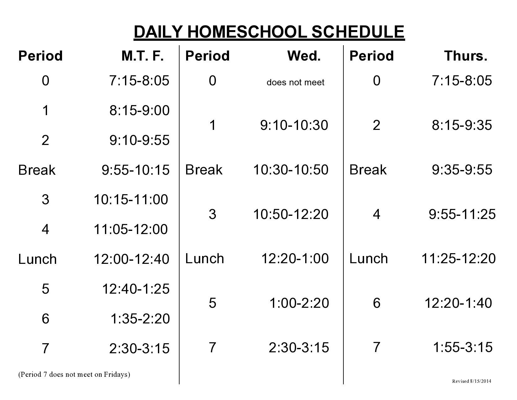 Free homeschool schedule template 35