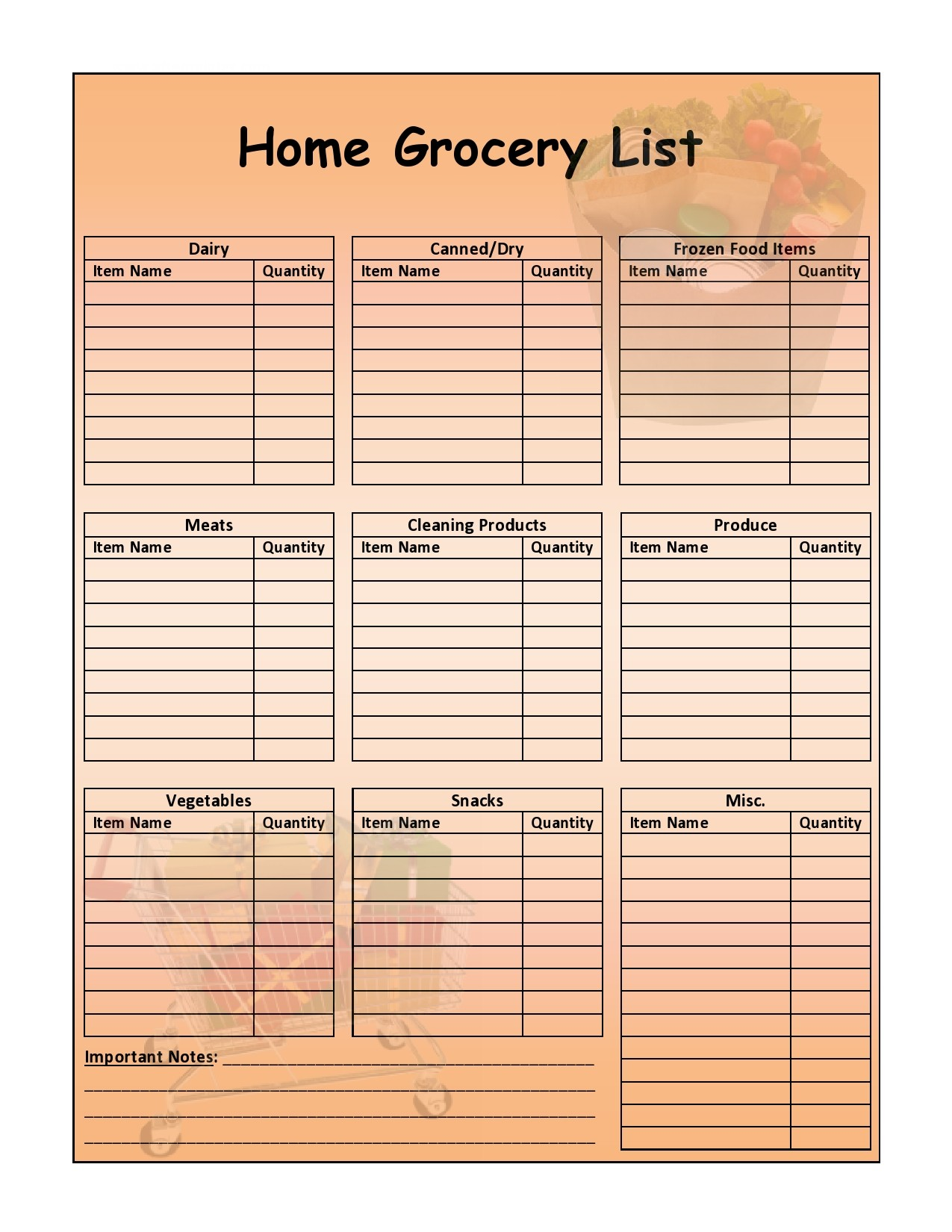 Free master grocery list 20