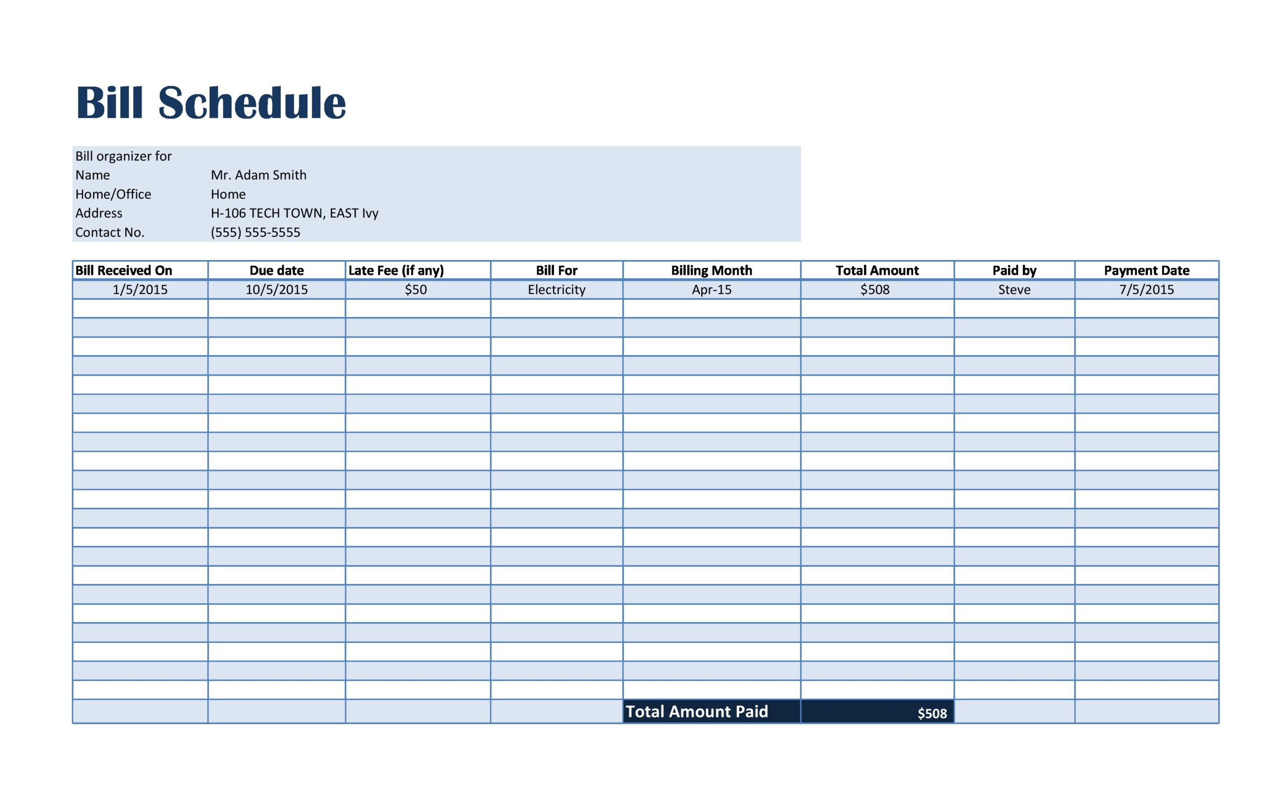 Free payment schedule template 04
