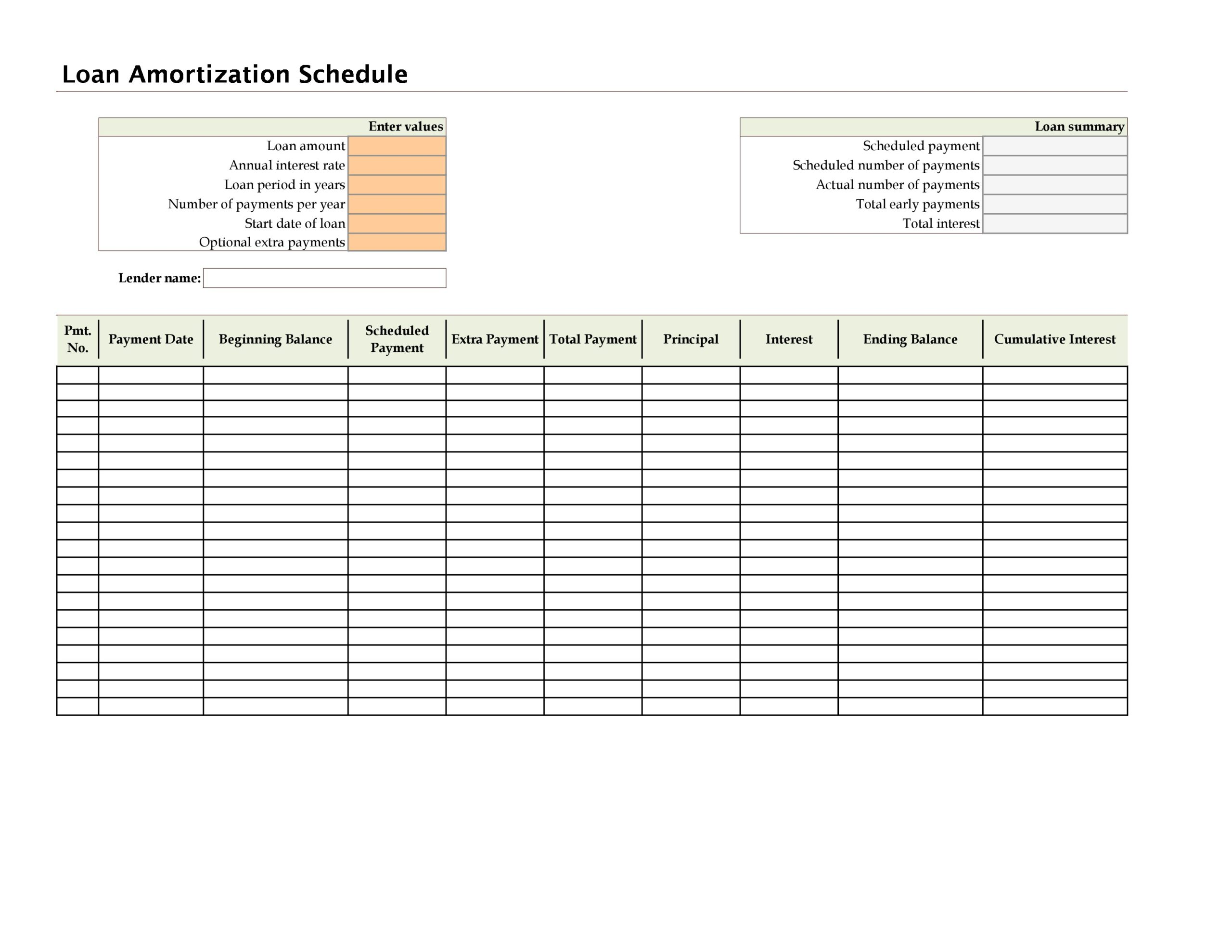 Free payment schedule template 10