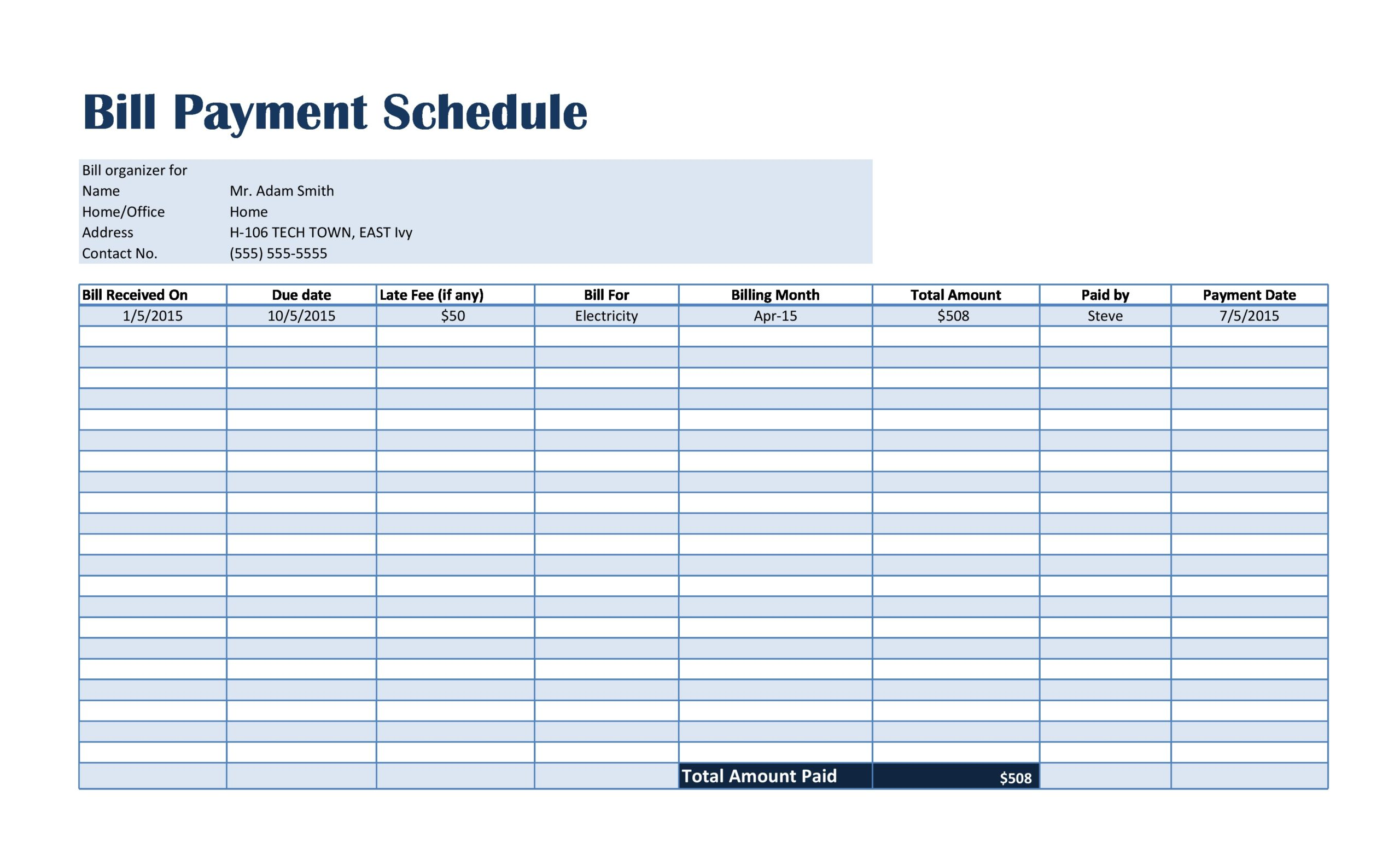 Free payment schedule template 12