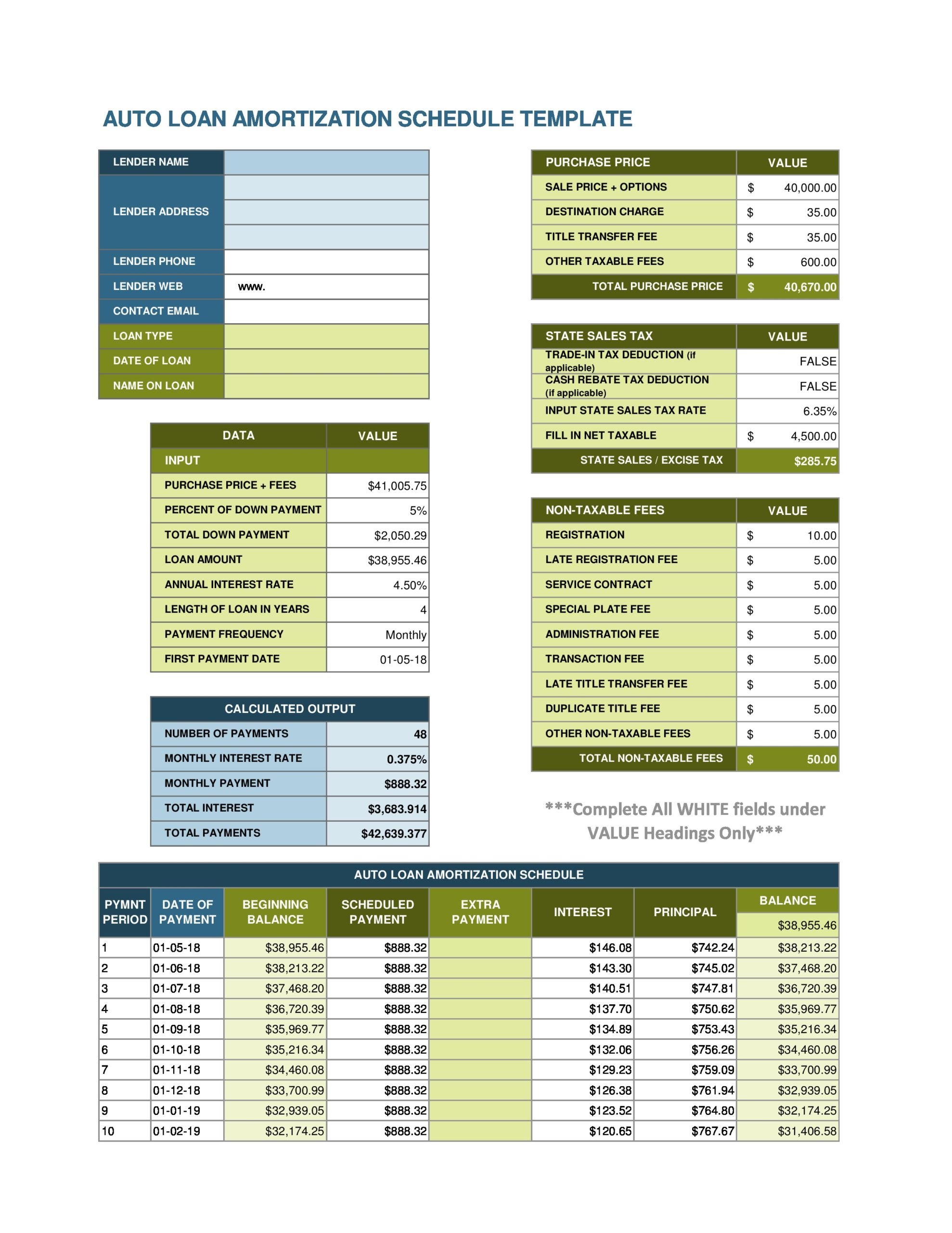 Free payment schedule template 18