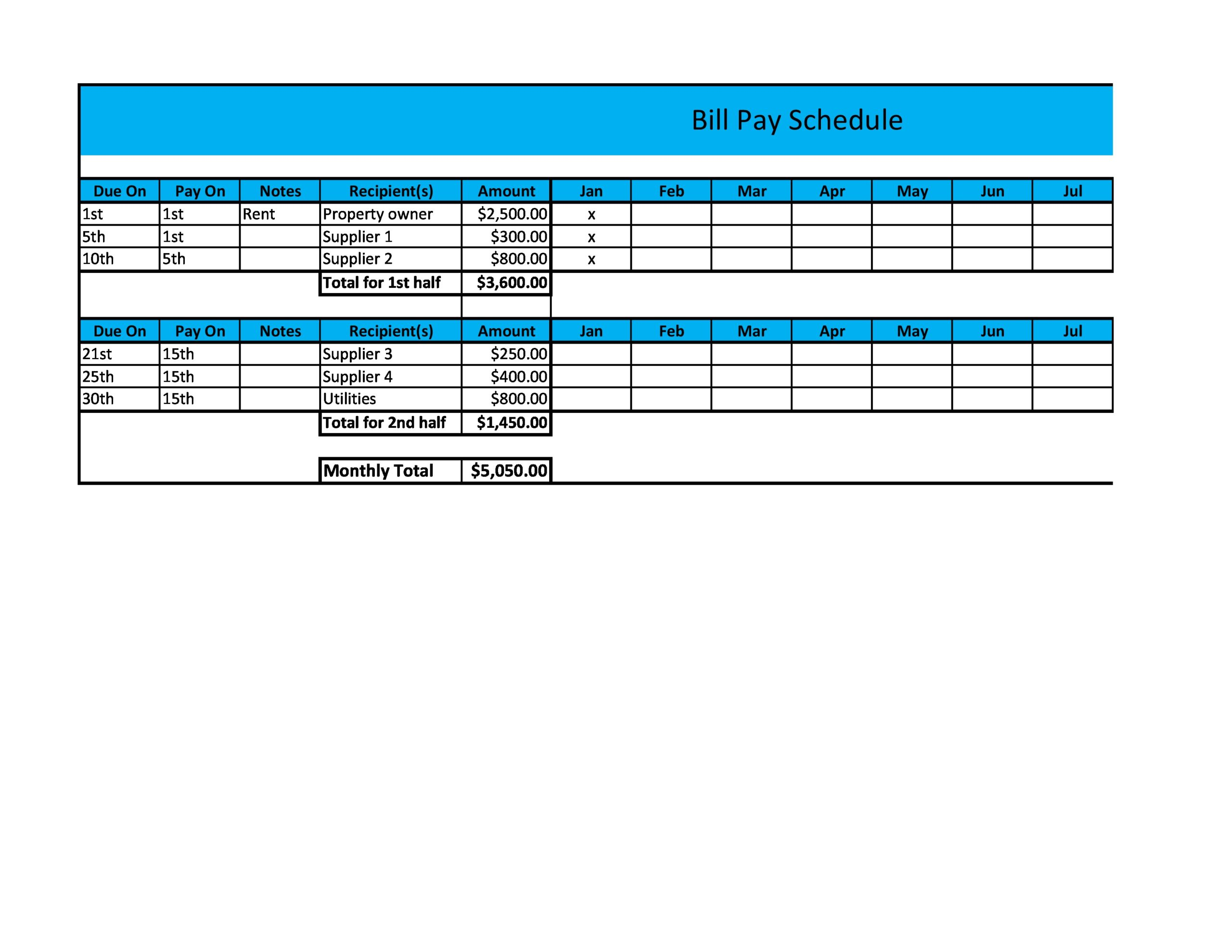 Free payment schedule template 21