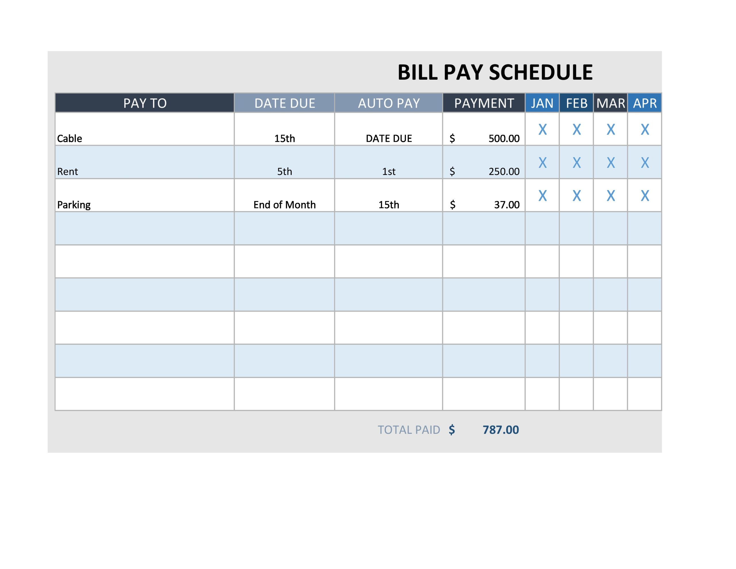 Free payment schedule template 23