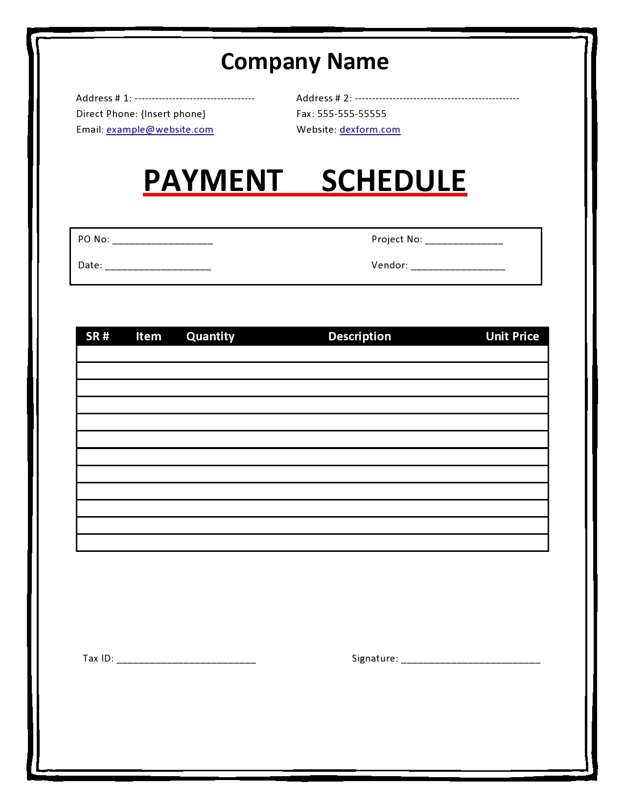 Free payment schedule template 24