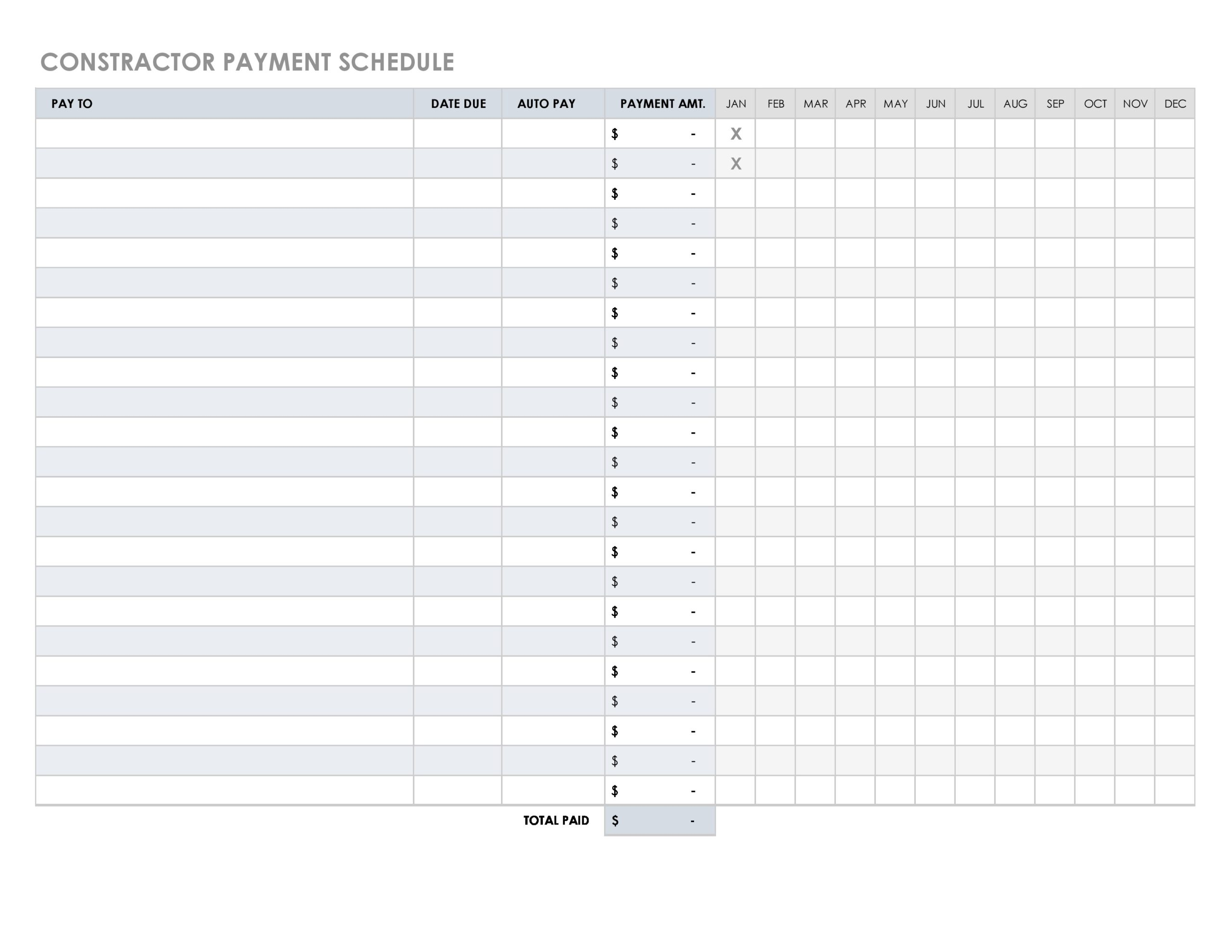 Free payment schedule template 40