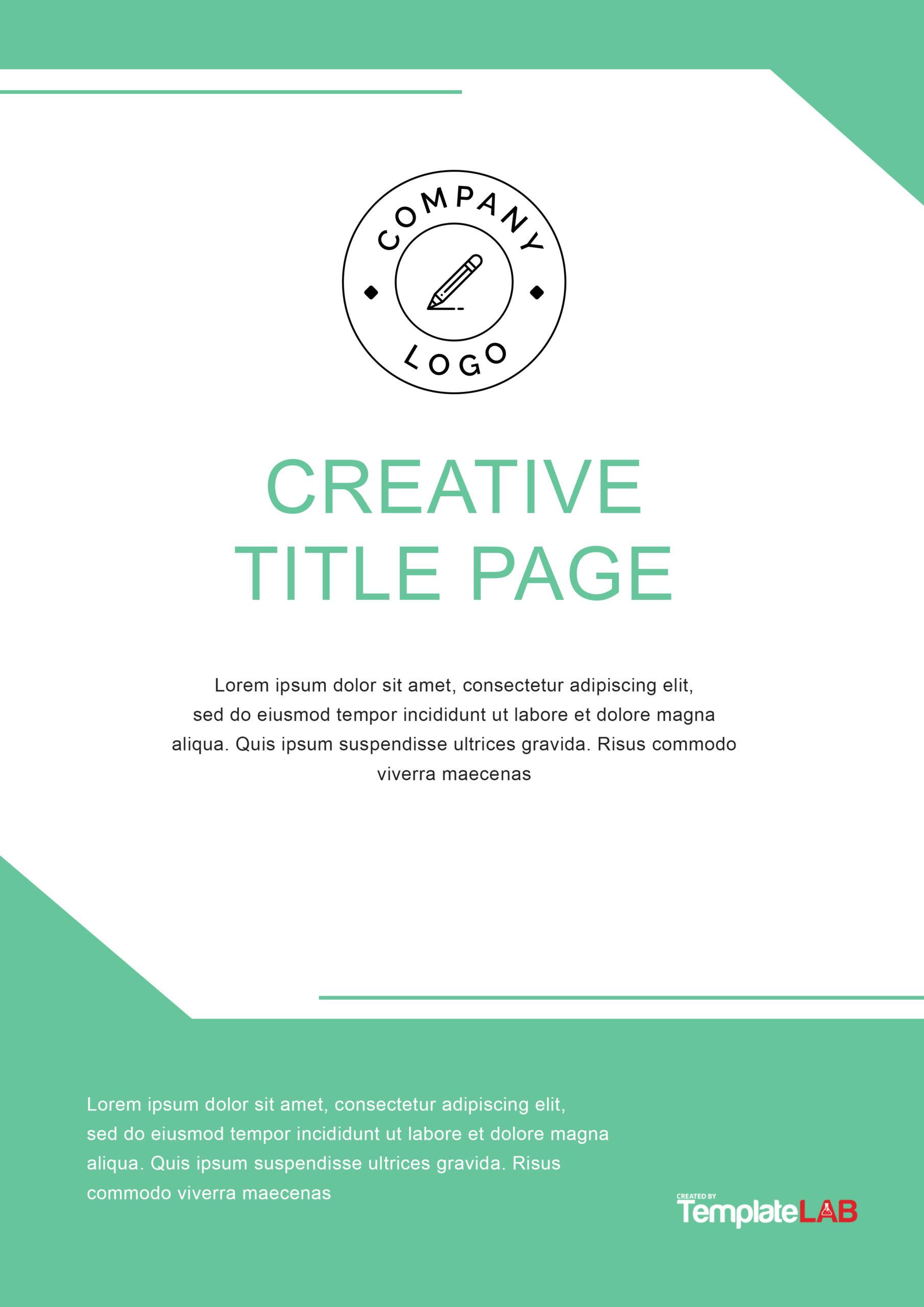 Free Creative title Page Template - TemplateLab.com
