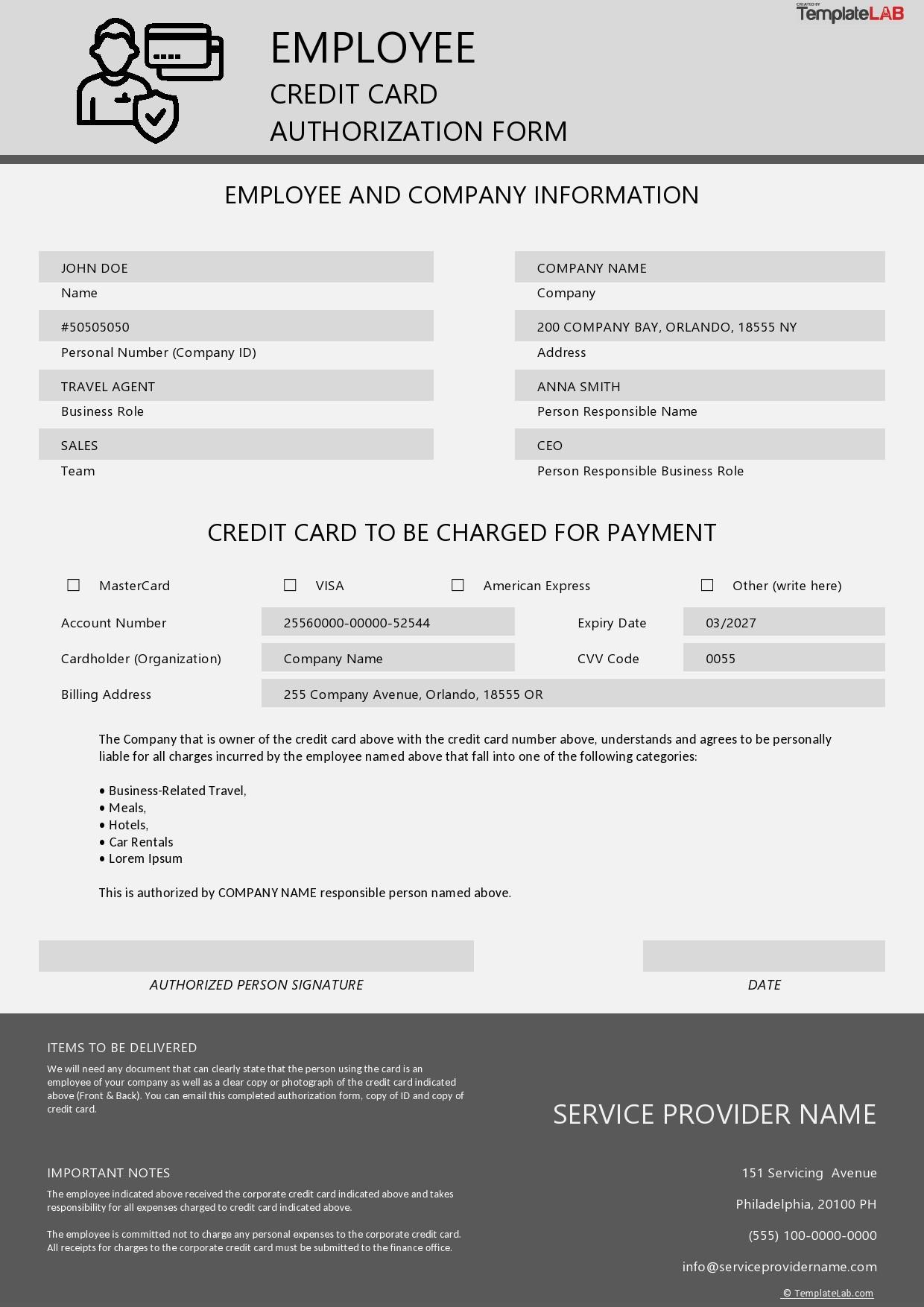 Free Employee Credit Card Authorization Form - TemplateLab.com