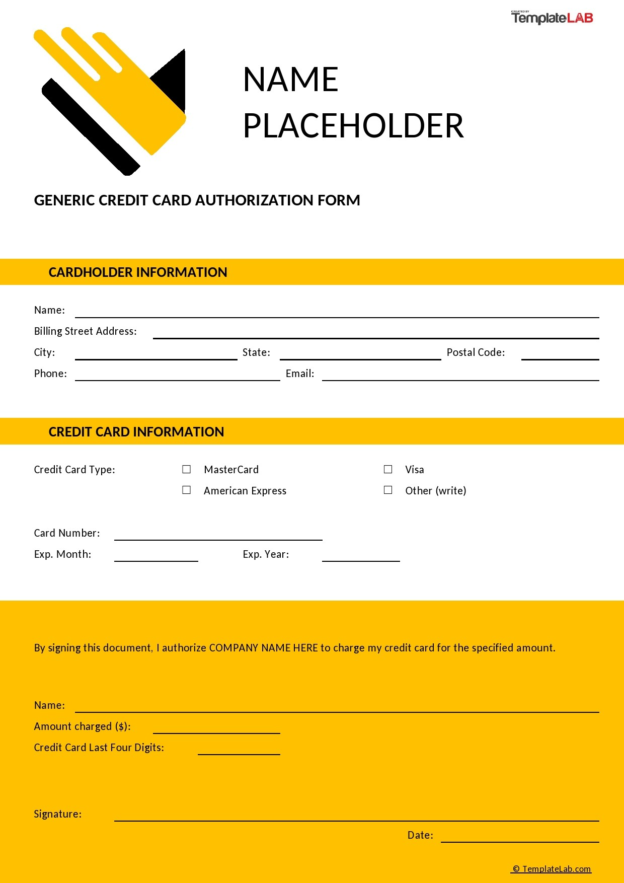Free Generic Credit Card Authorization Form - TemplateLab.com