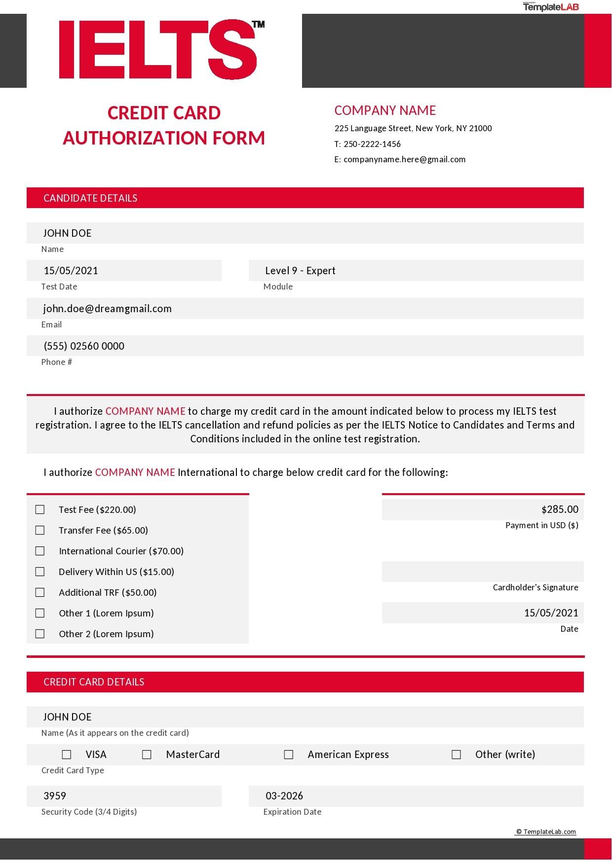 Free IELTS Credit Card Authorization Form - TemplateLab.com