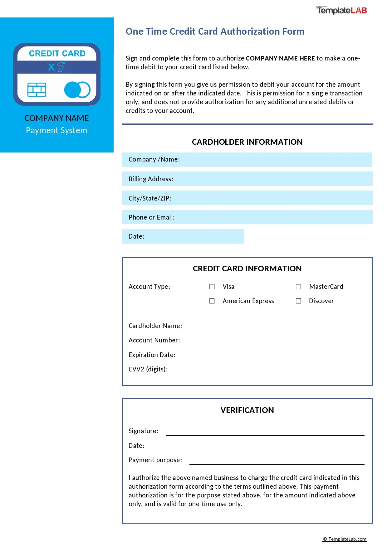 Free One Time Credit Card Authorization Form - TemplateLab.com