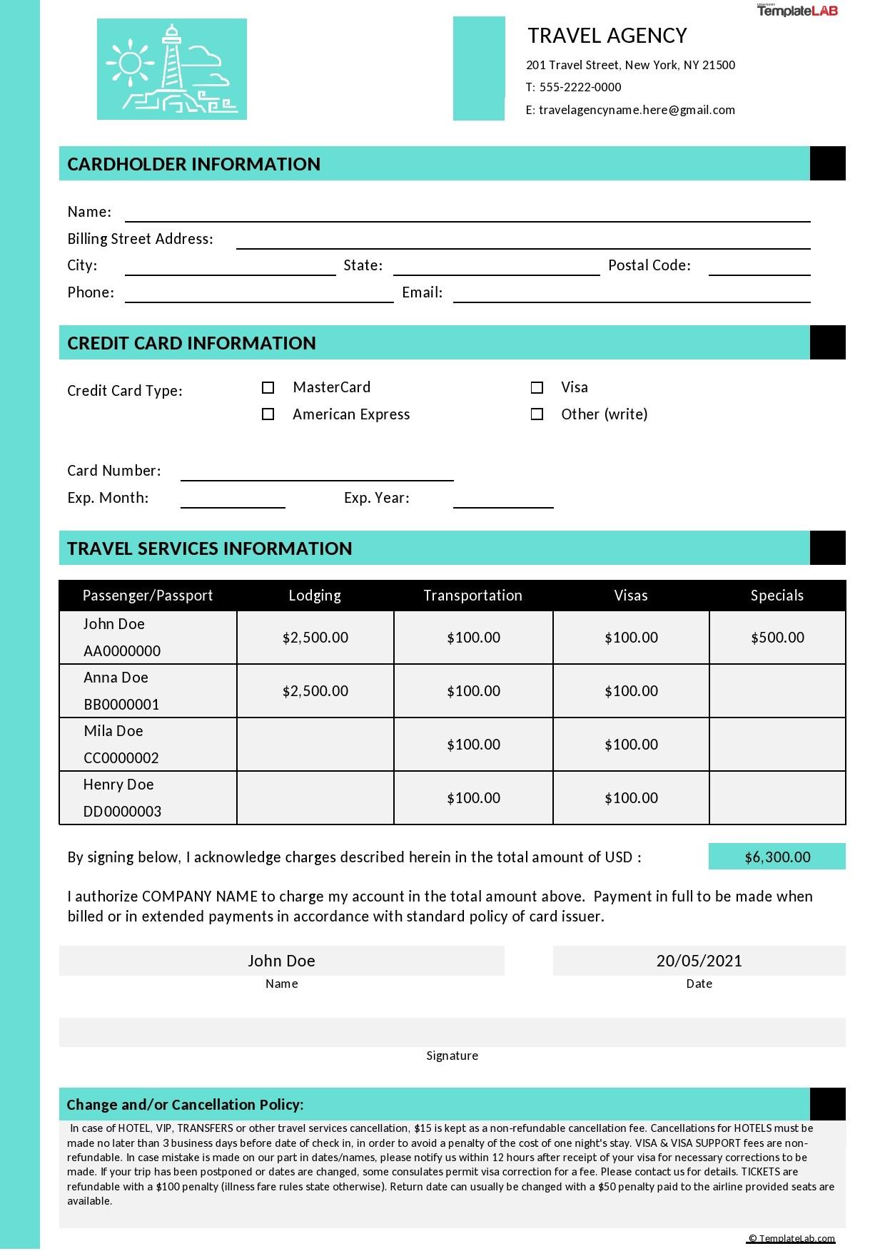 Free Travel Agent Credit Card Authorization Form - TemplateLab.com