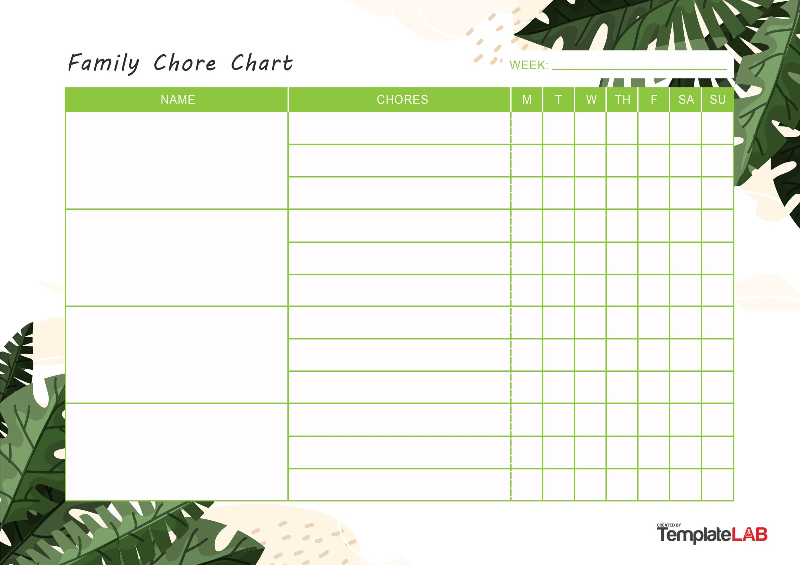 Free Family Chore Chart v2 - TemplateLab.com
