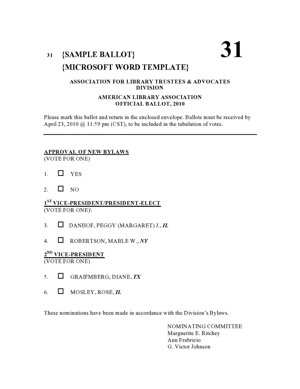 Free ballot template 07
