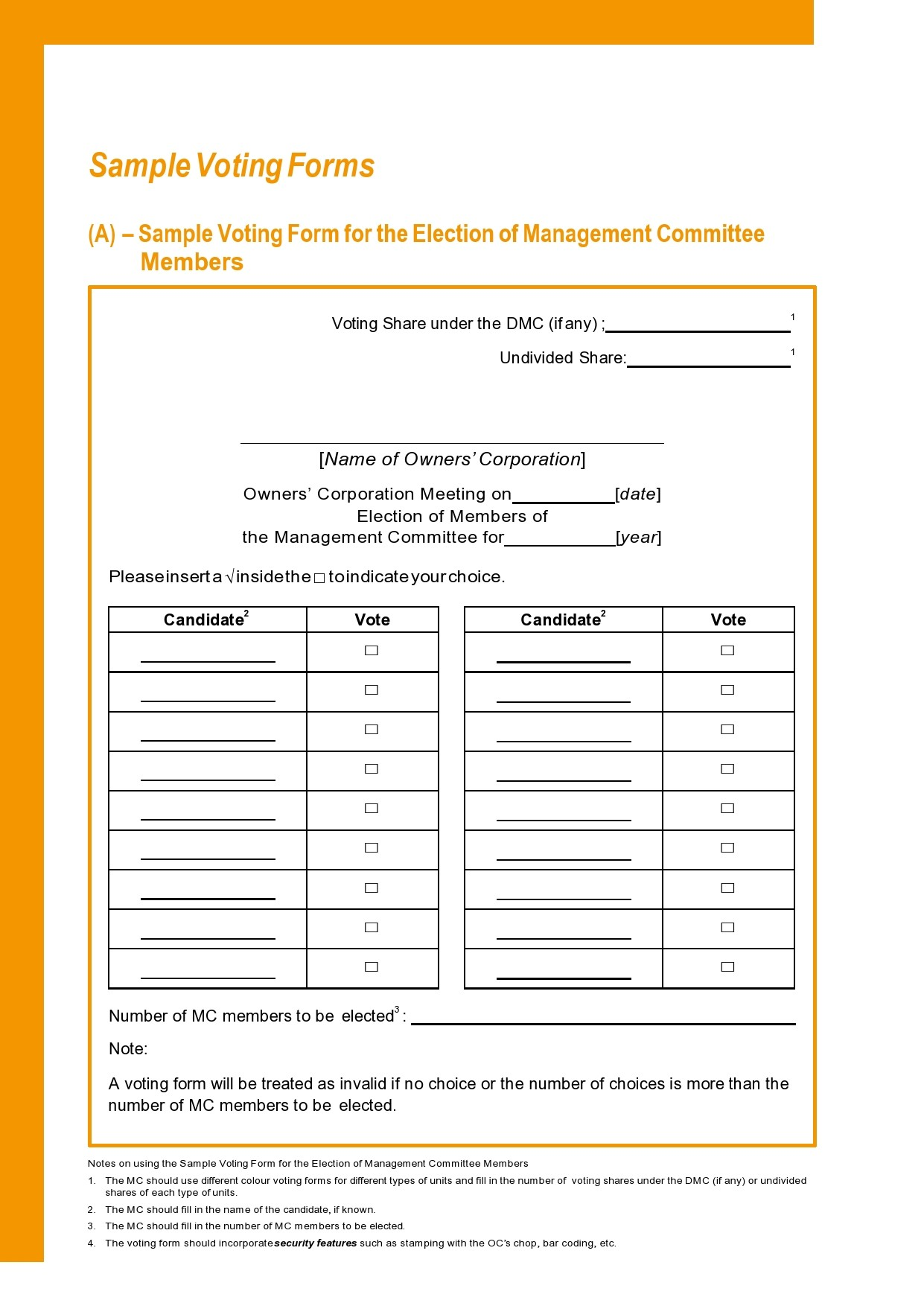 Free ballot template 11