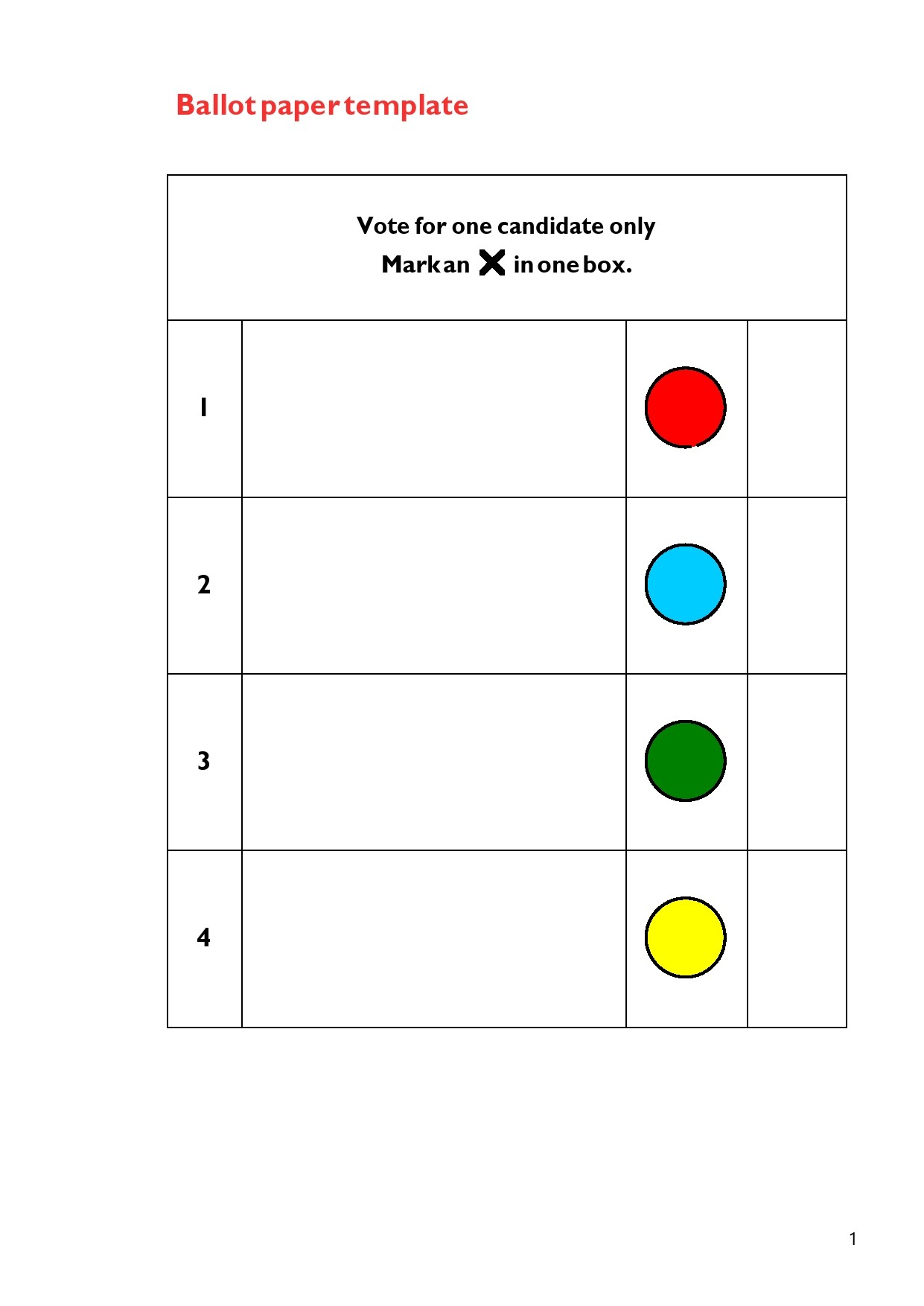 Free ballot template 16