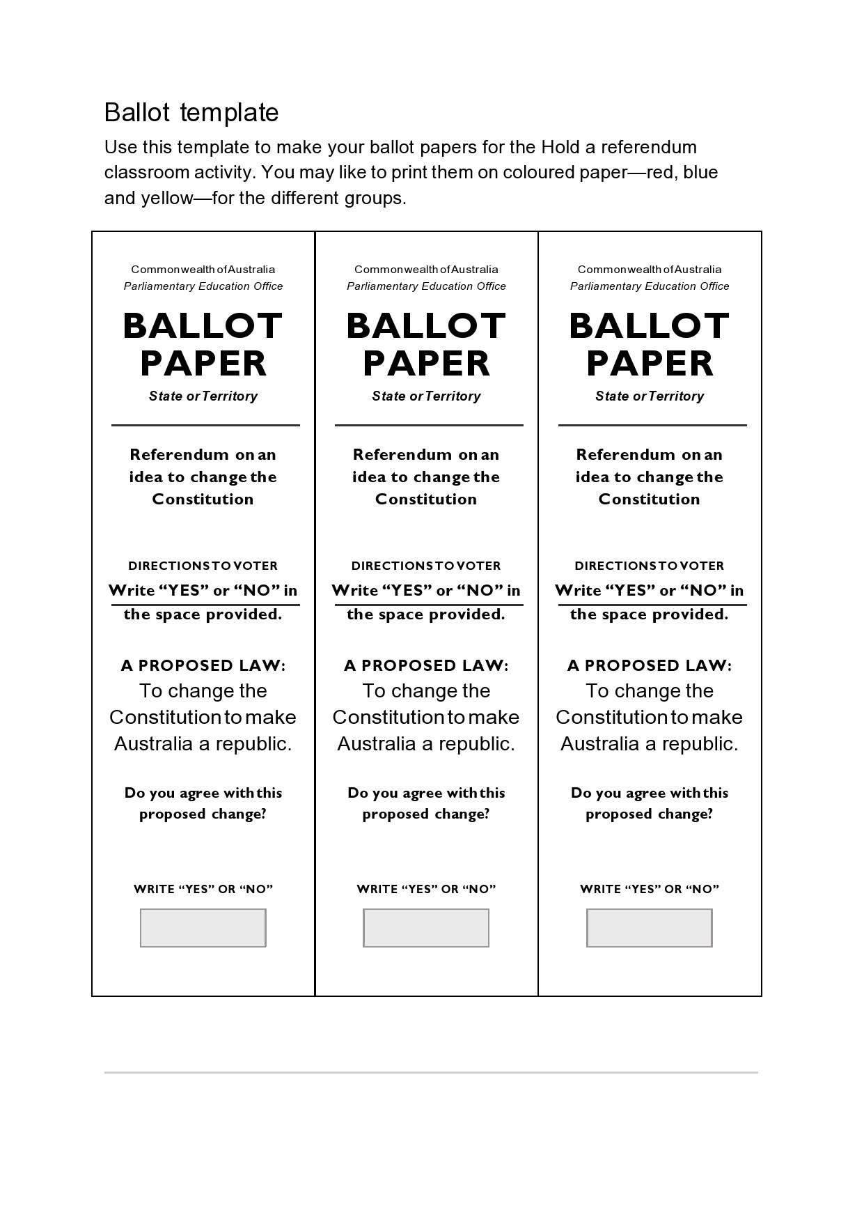 Free ballot template 17