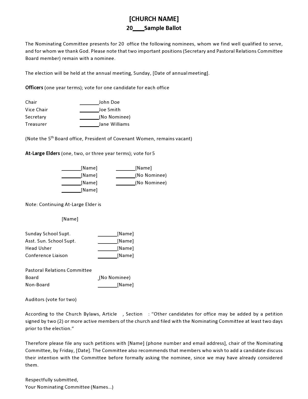 Free ballot template 18